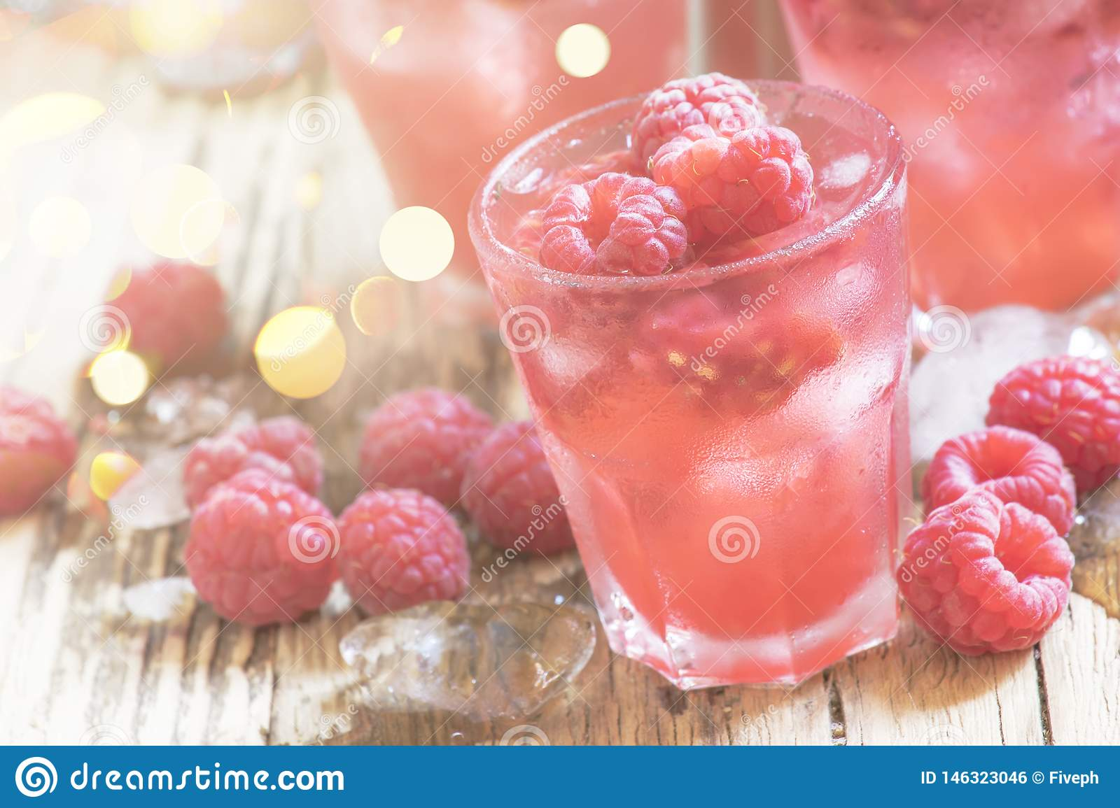 Cold Raspberry Cocktail With Ice, Pink Summer Berry