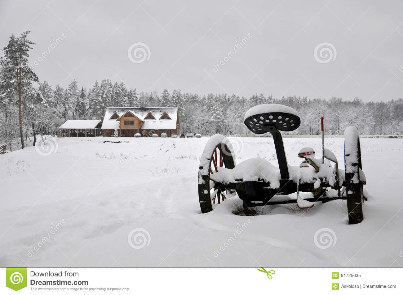 Cold snowy winter landscape of rural homes.