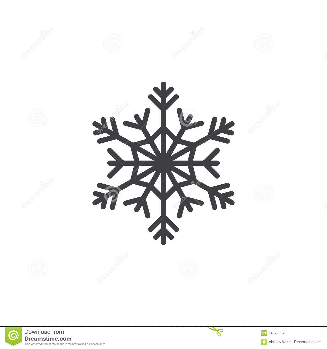 Cold symbol, Snowflake line icon, outline vector sign, linear pi