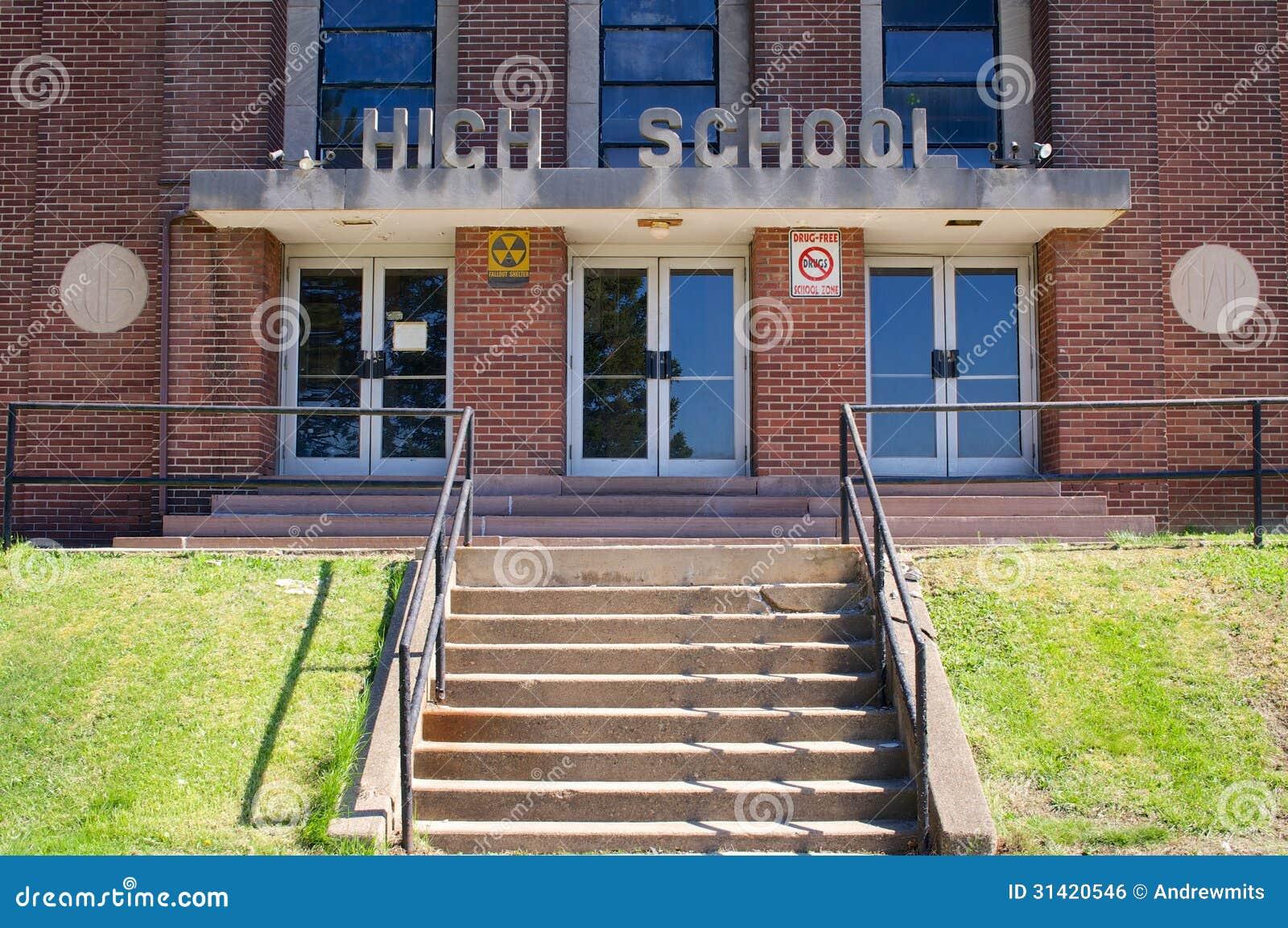 School Entrance Doors : Cold war era high school entrance stock photo image
