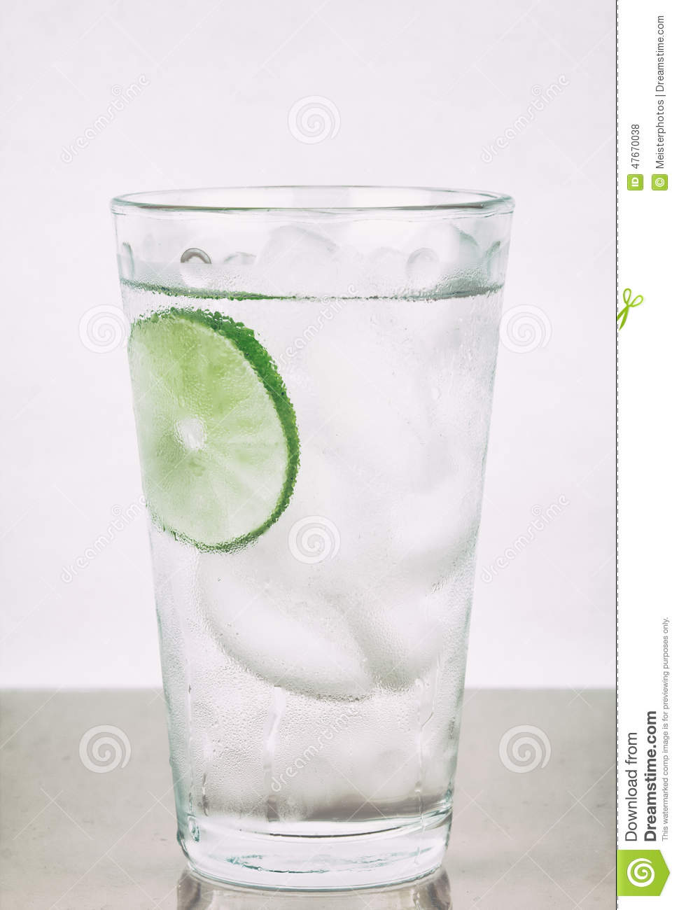 Cold Water In Glass With Lime Stock Photo - Image: 47670038