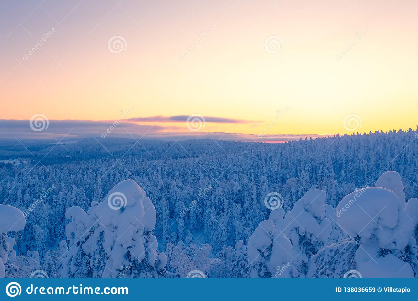 Cold winter day sunset view. Photo from Sotkamo, Finland.