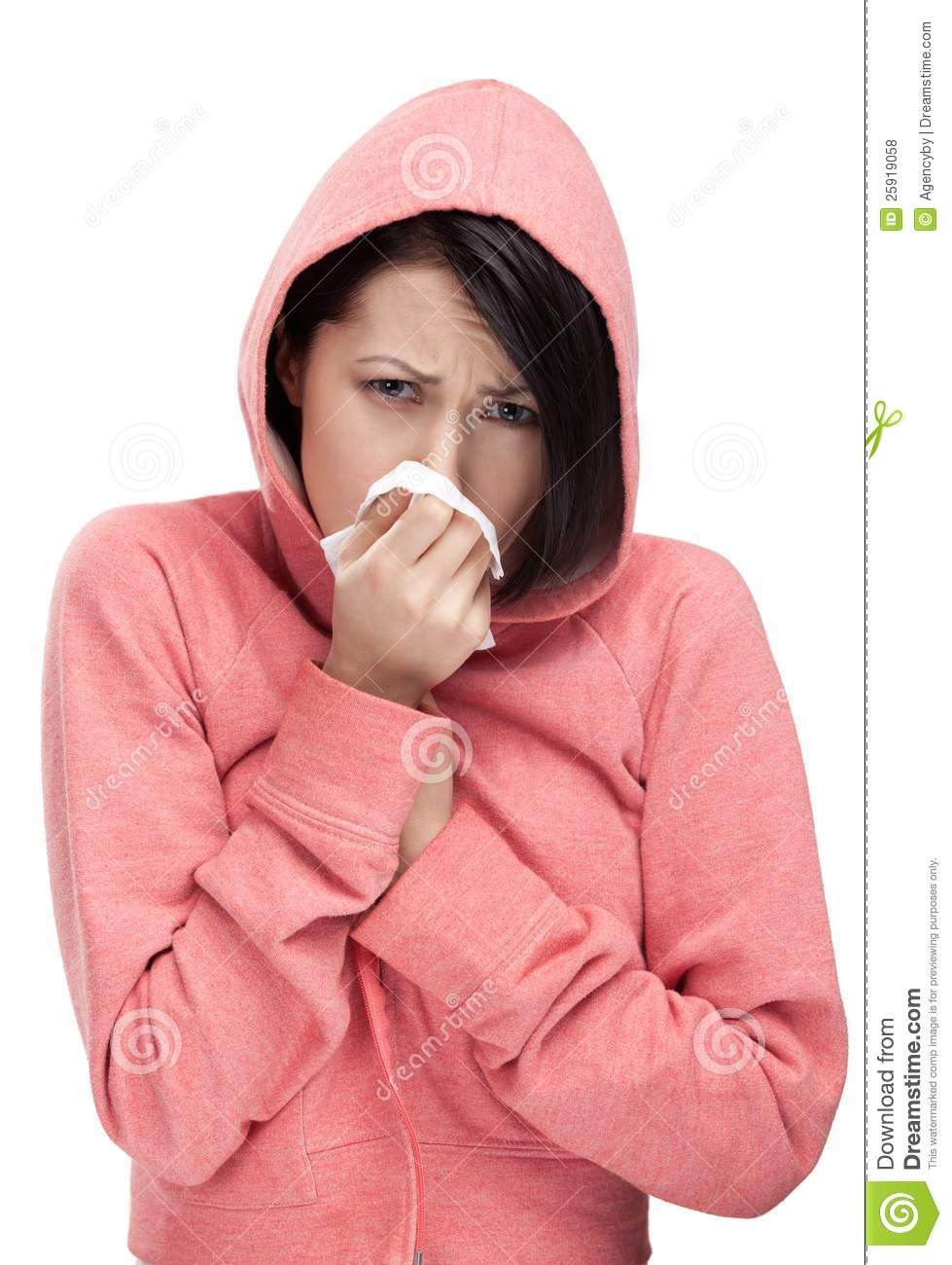 A cold woman holding wipe