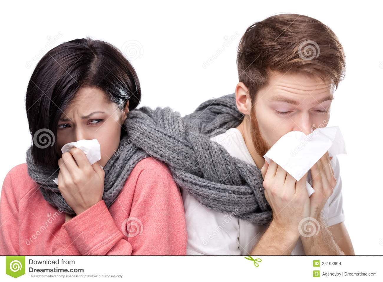 Cold woman and man