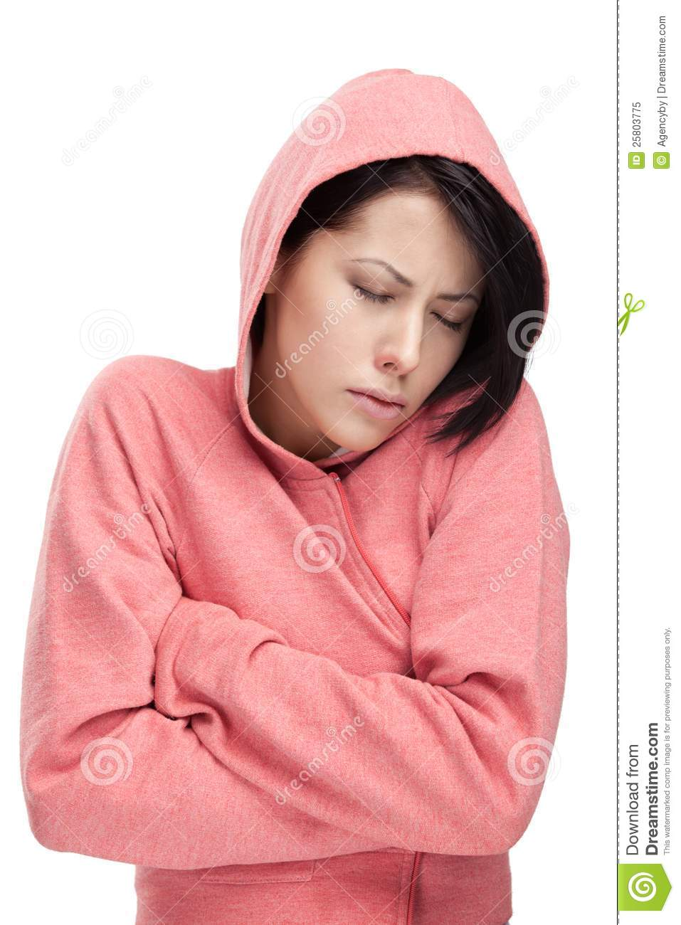 A cold young woman