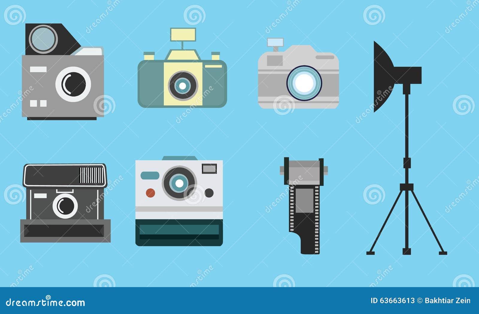 Coleção ajustada da fotografia do rolo de filme do ícone liso do vintage da câmera
