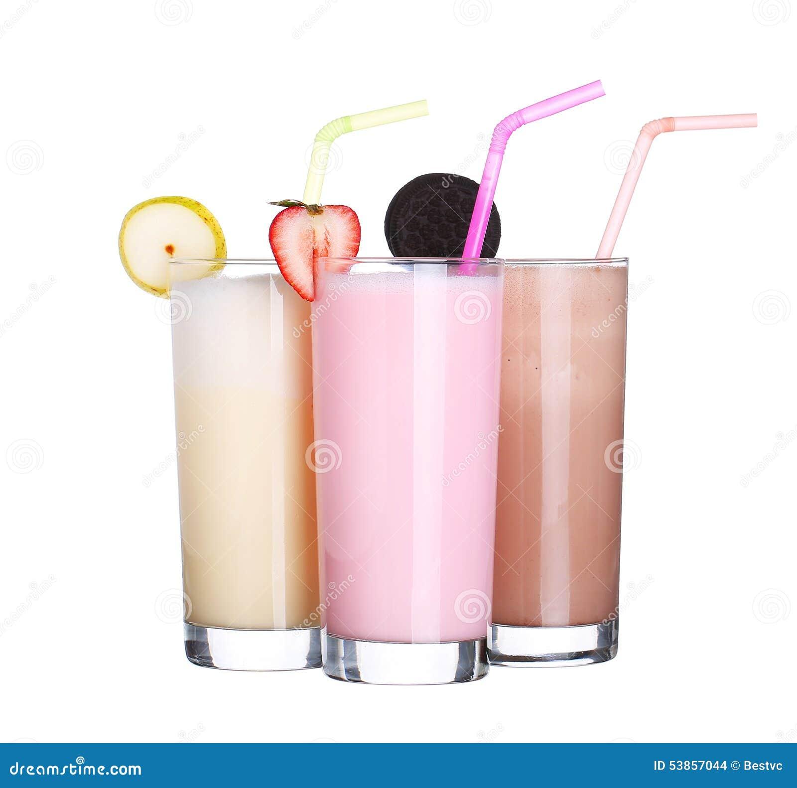 Coleção ajustada do gelado do sabor do chocolate dos milks shake isolada