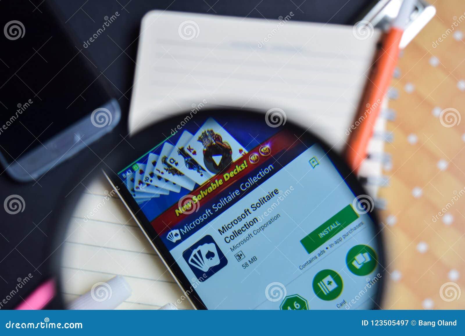Coleção App do solitário de Microsoft com ampliação na tela de Smartphone