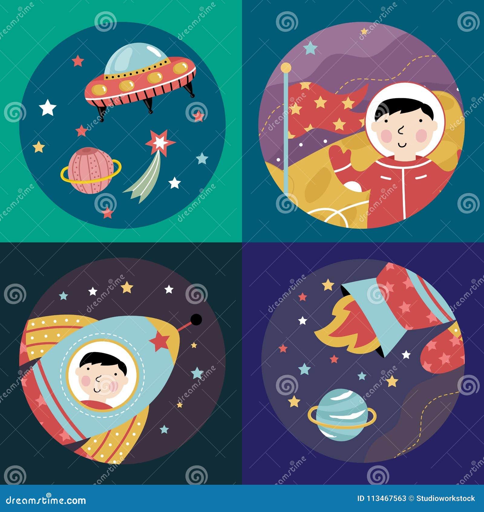 Coleção colorida dos ícones dos desenhos animados do espaço