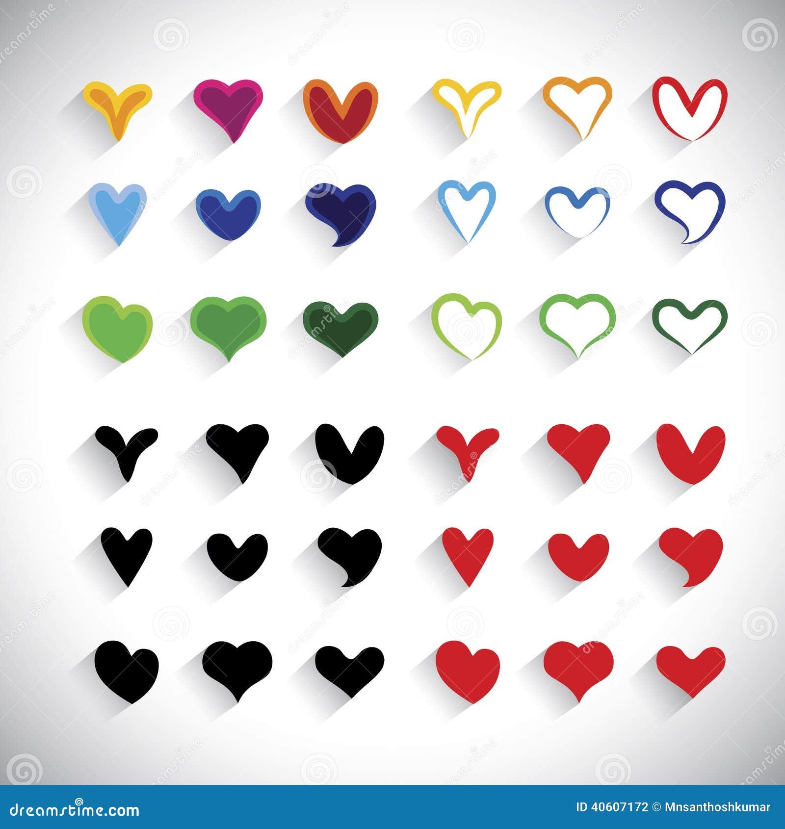 A coleção colorida dos ícones do coração do projeto liso ajustou - o gráfico de vetor