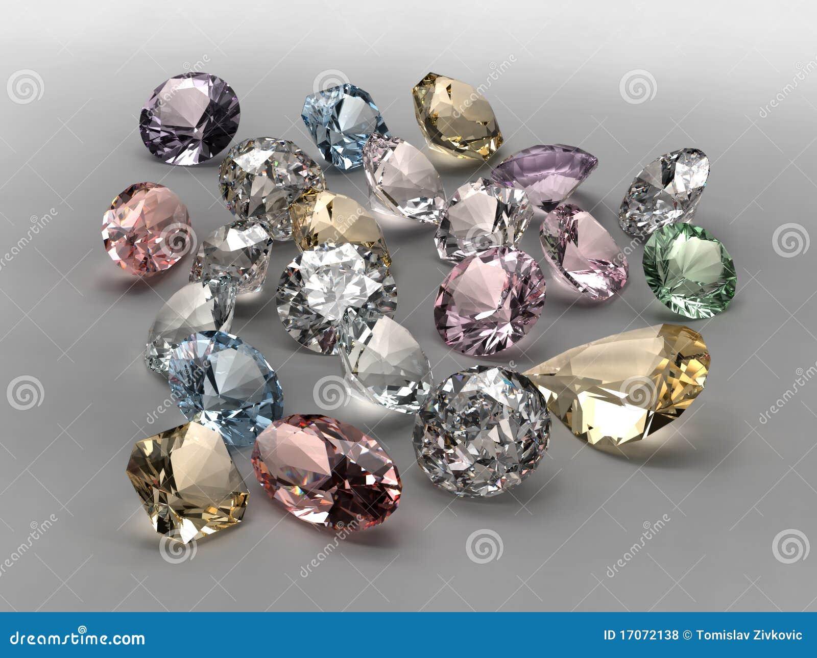 Coleção colorida dos diamantes
