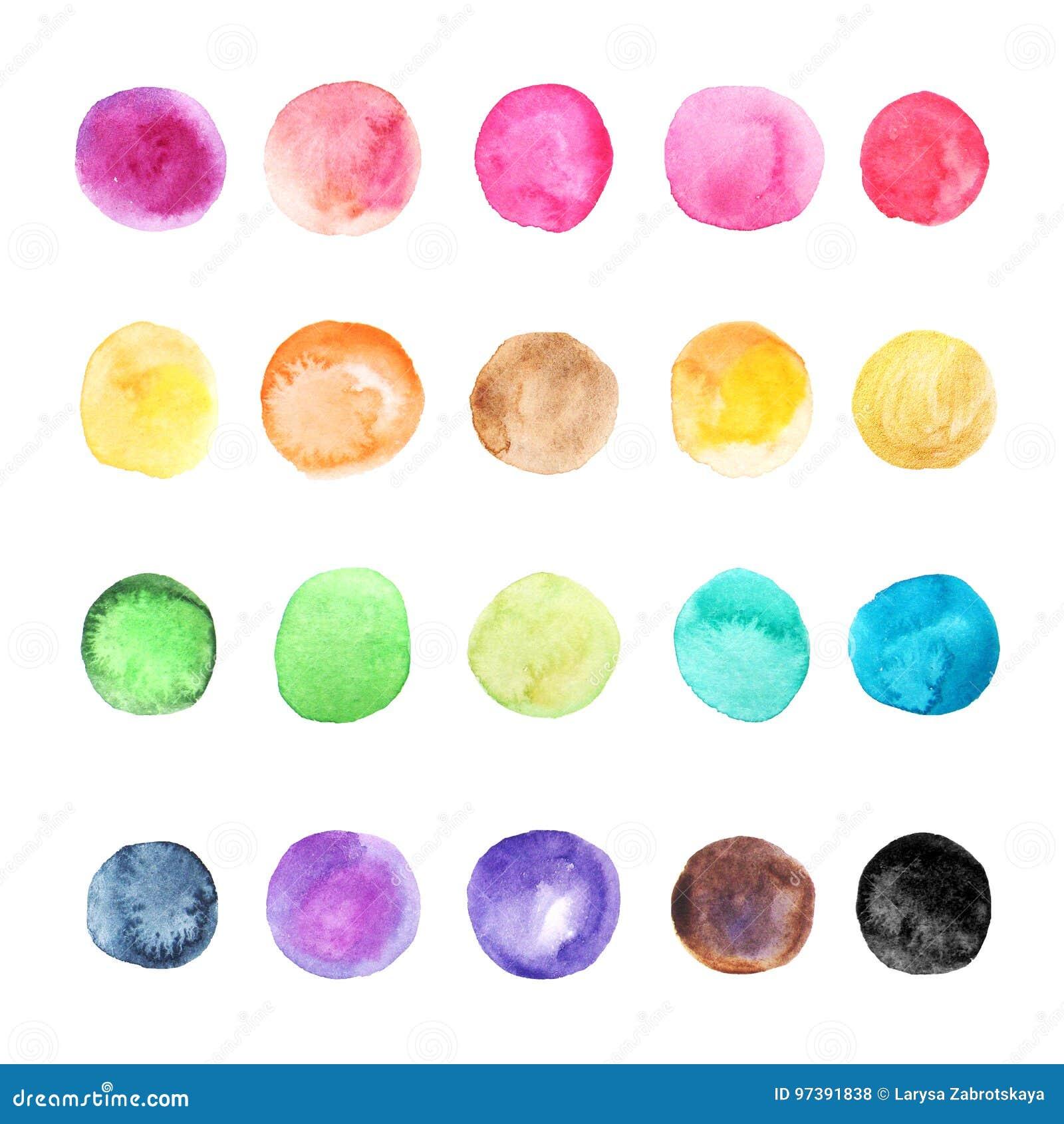 Coleção colorida dos pontos da aquarela isolada