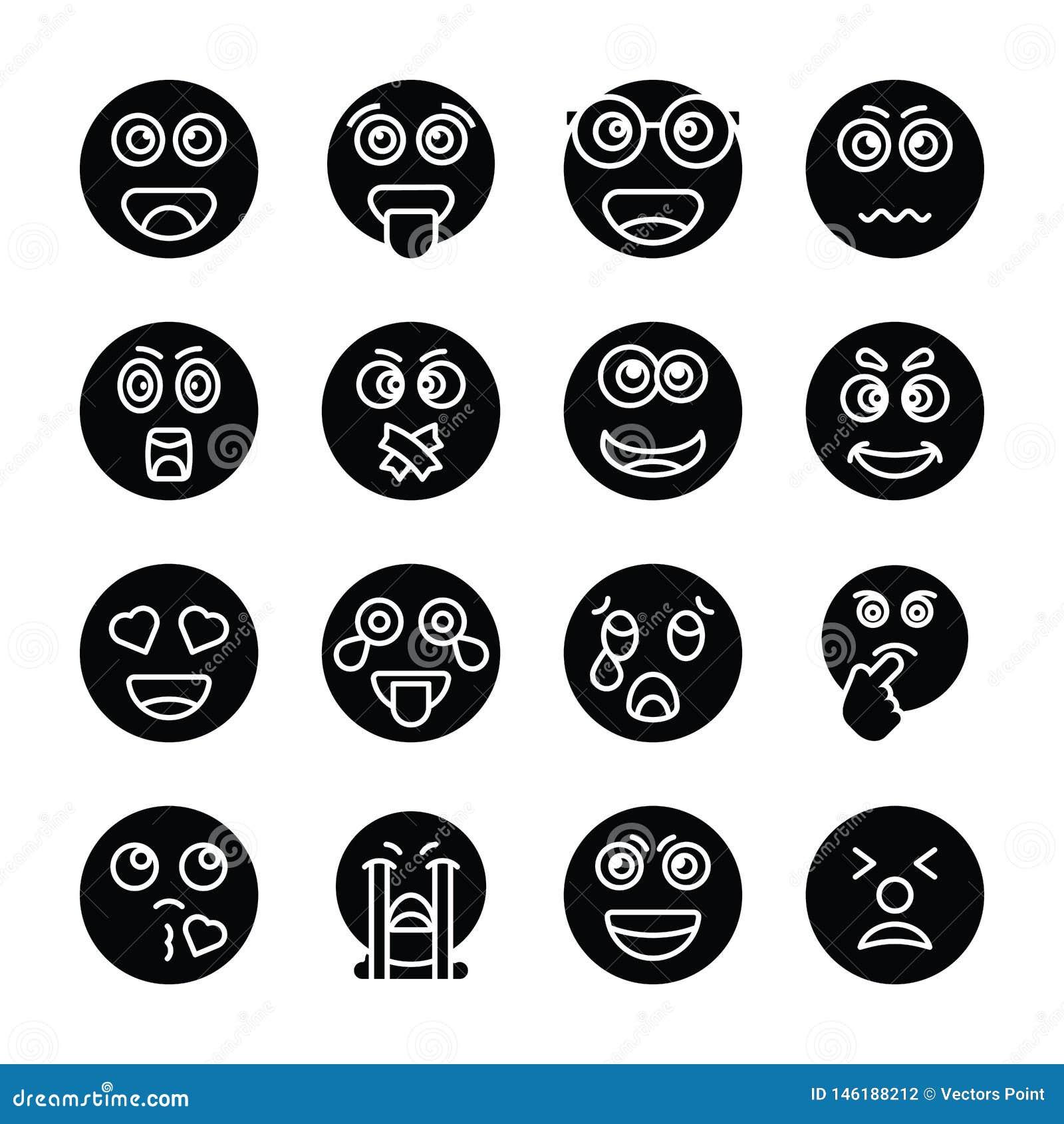 Coleção contínua dos ícones do vetor de Emojis