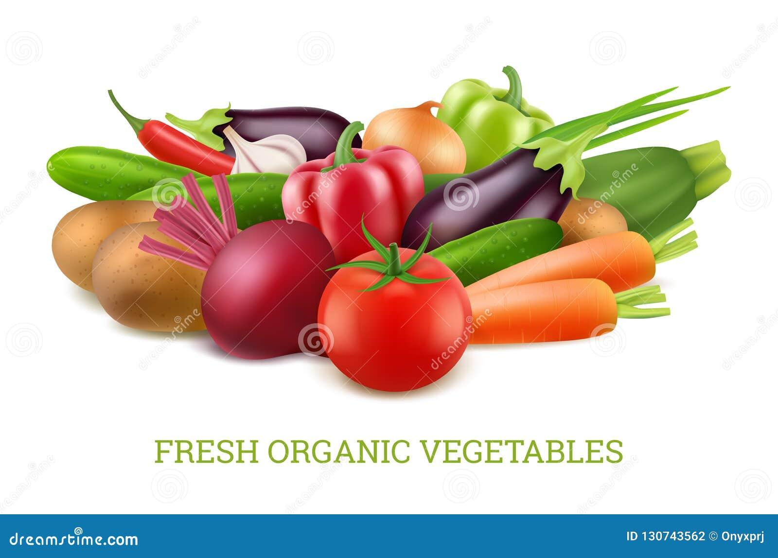 Coleção 3d dos vegetais Imagens realísticas do vetor saudável orgânico da nutrição do alimento do vegetariano