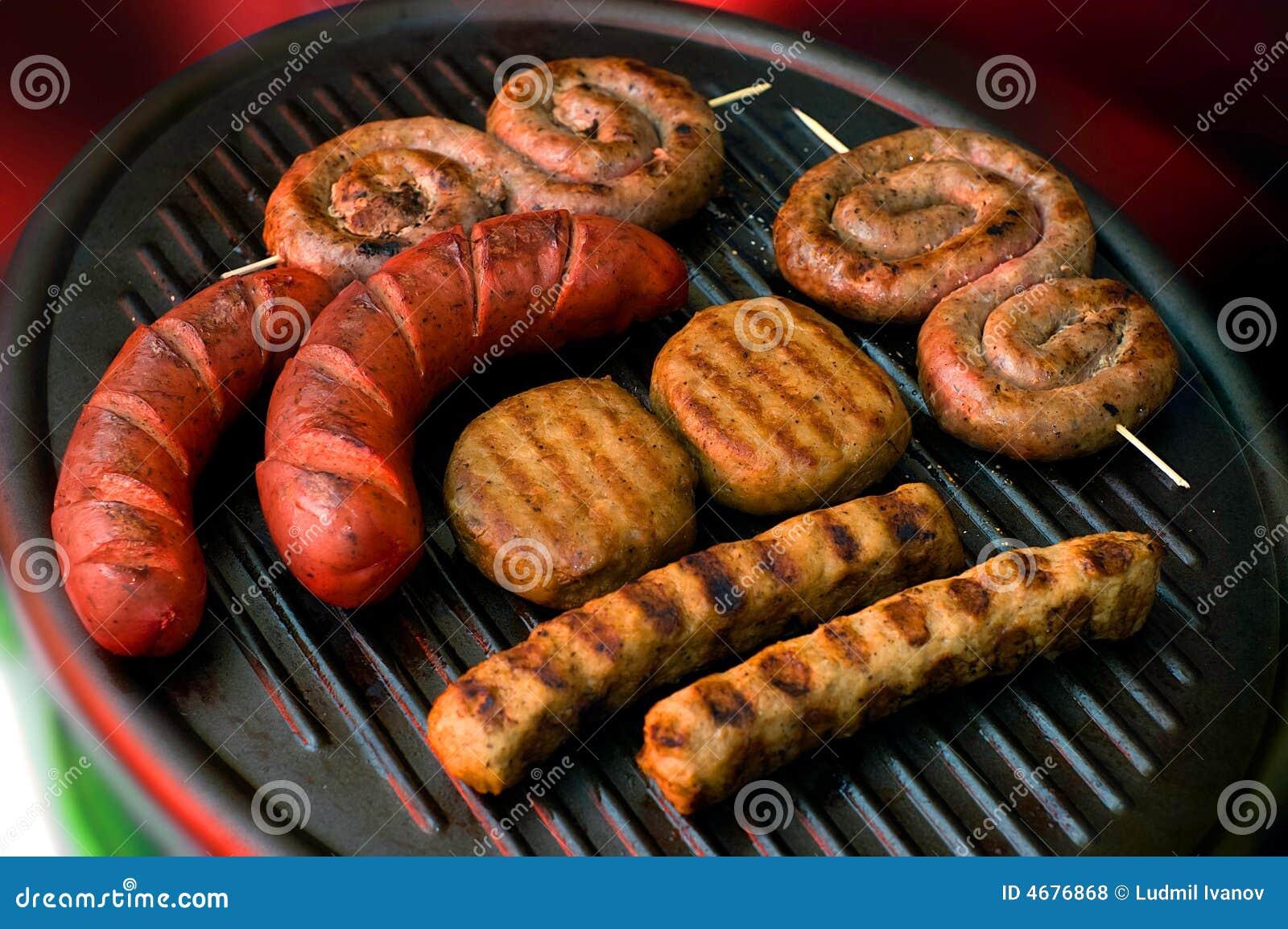 Coleção da carne na grade