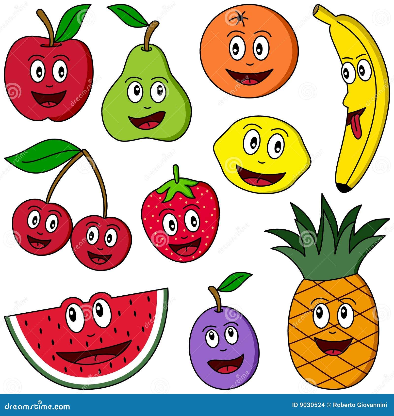 coleção da fruta dos desenhos animados ilustração do vetor