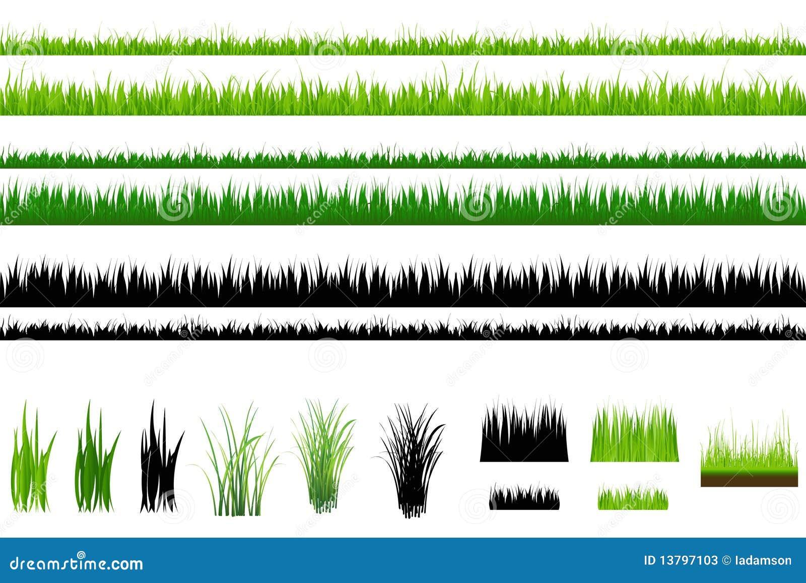 Coleção da grama, isolada no branco. Vetor