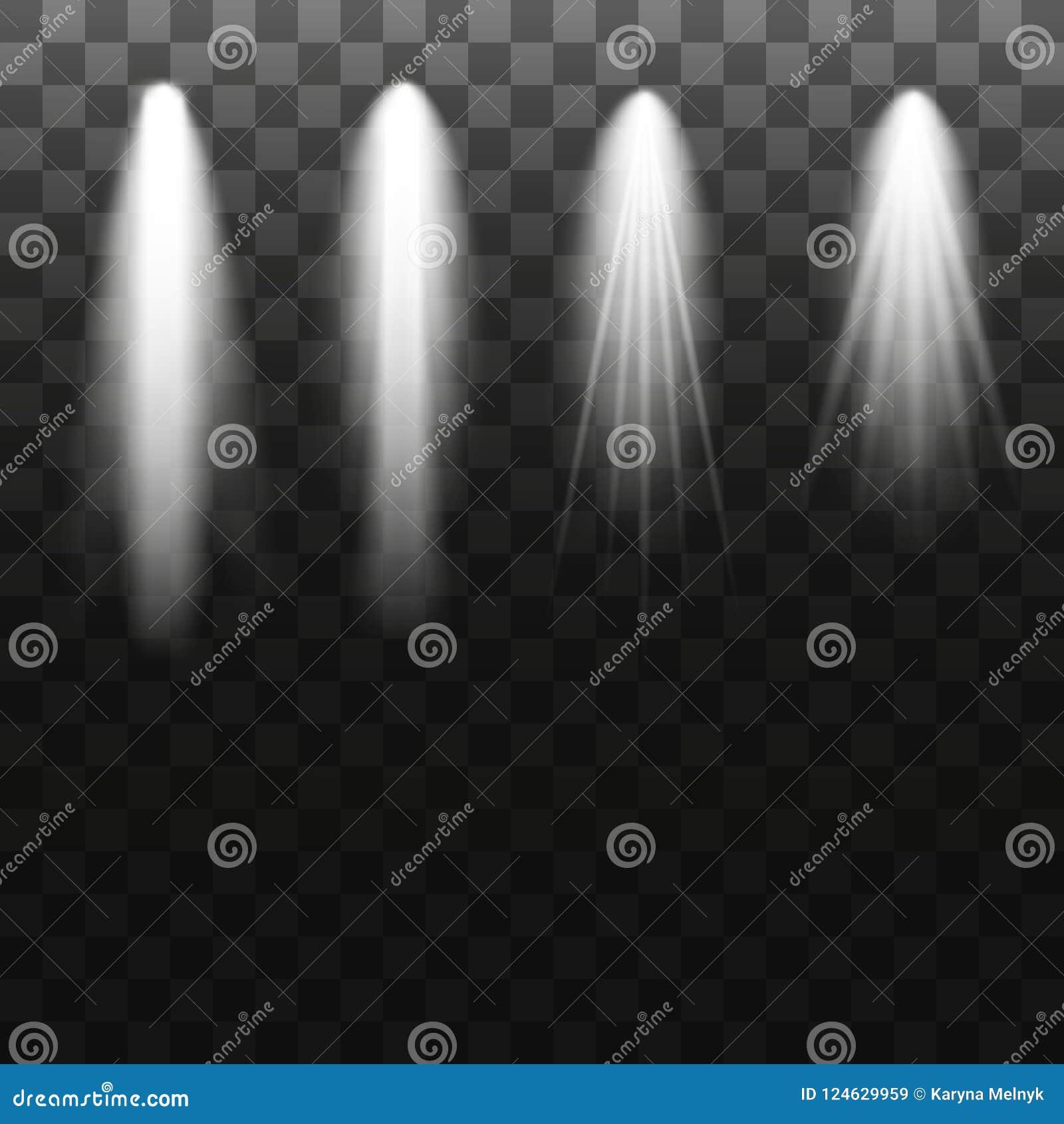 Coleção da iluminação da cena, efeitos transparentes Iluminação brilhante com projetores Ilustração do vetor