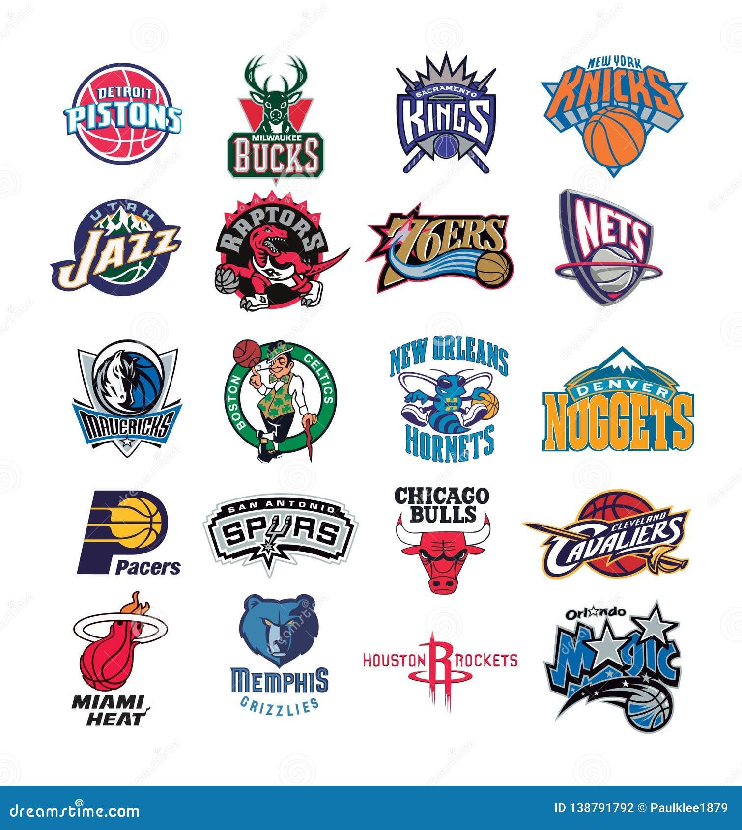 Coleção da ilustração do vetor dos logotipos da equipe de NBA