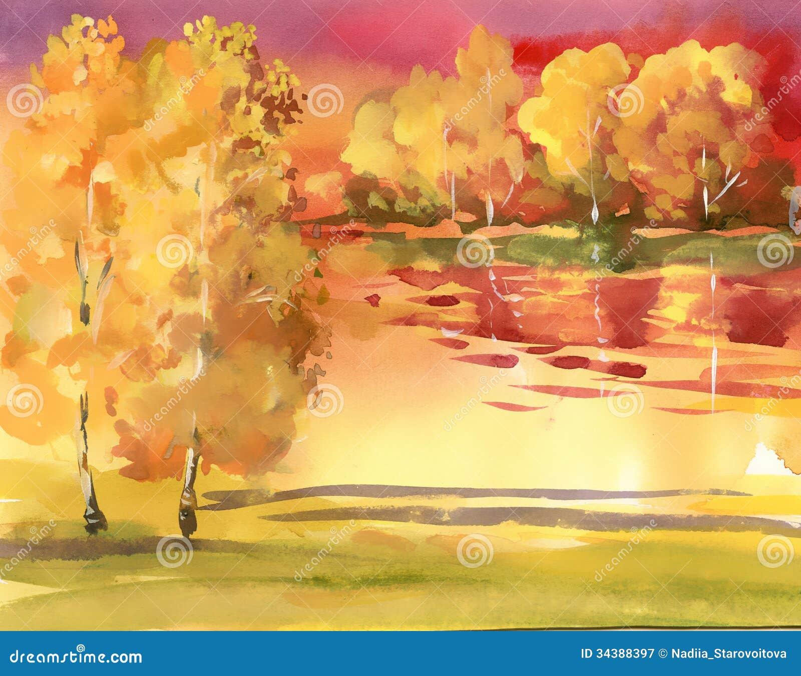 Coleção da paisagem do outono da aquarela