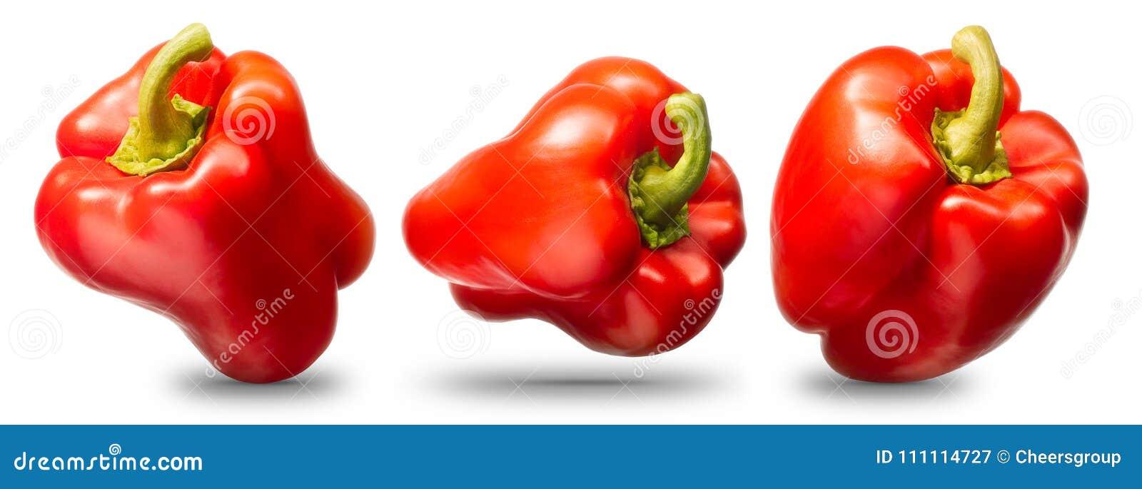 Coleção da pimenta vermelha isolada no branco