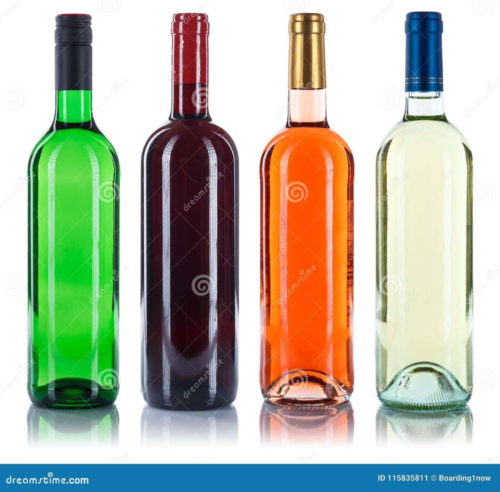 Coleção da rosa vermelha do branco da colagem das garrafas de vinho isolada no wh