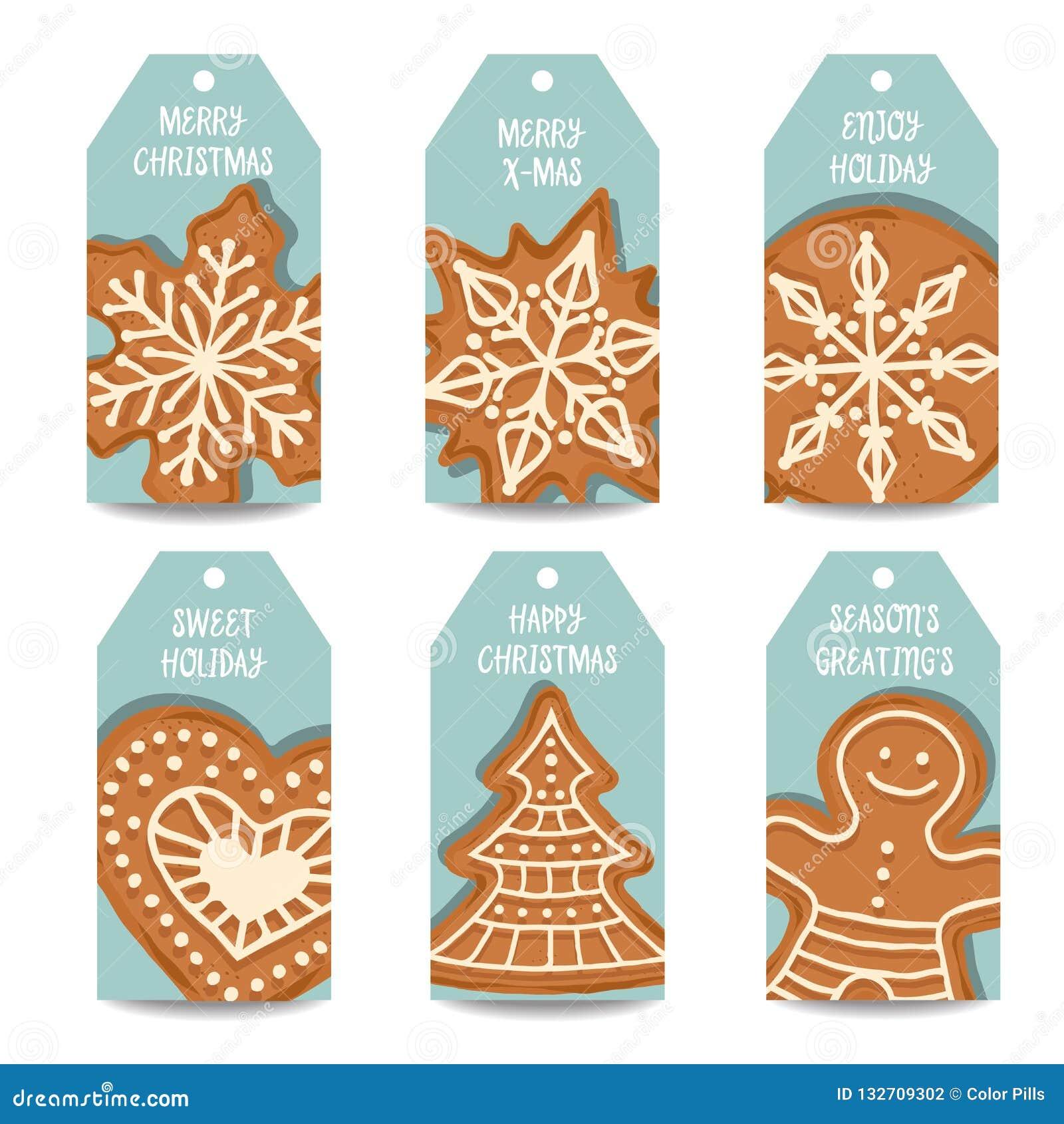 Coleção das etiquetas do Natal com pão-de-espécie
