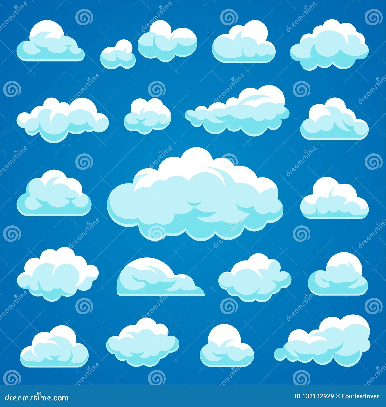Coleção das nuvens dos desenhos animados do vetor