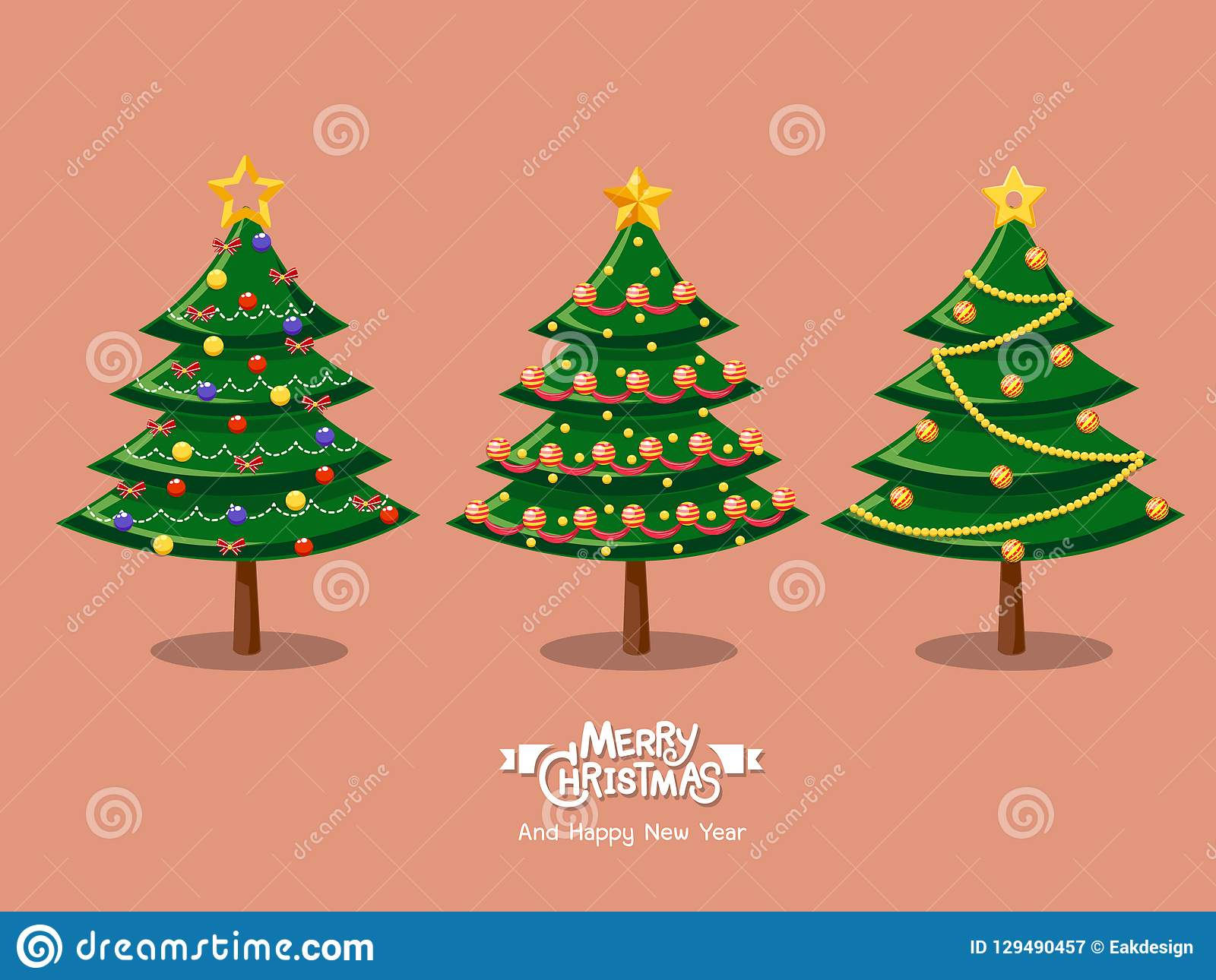 Colecao De Arvores De Natal Dos Desenhos Animados Feliz Natal E