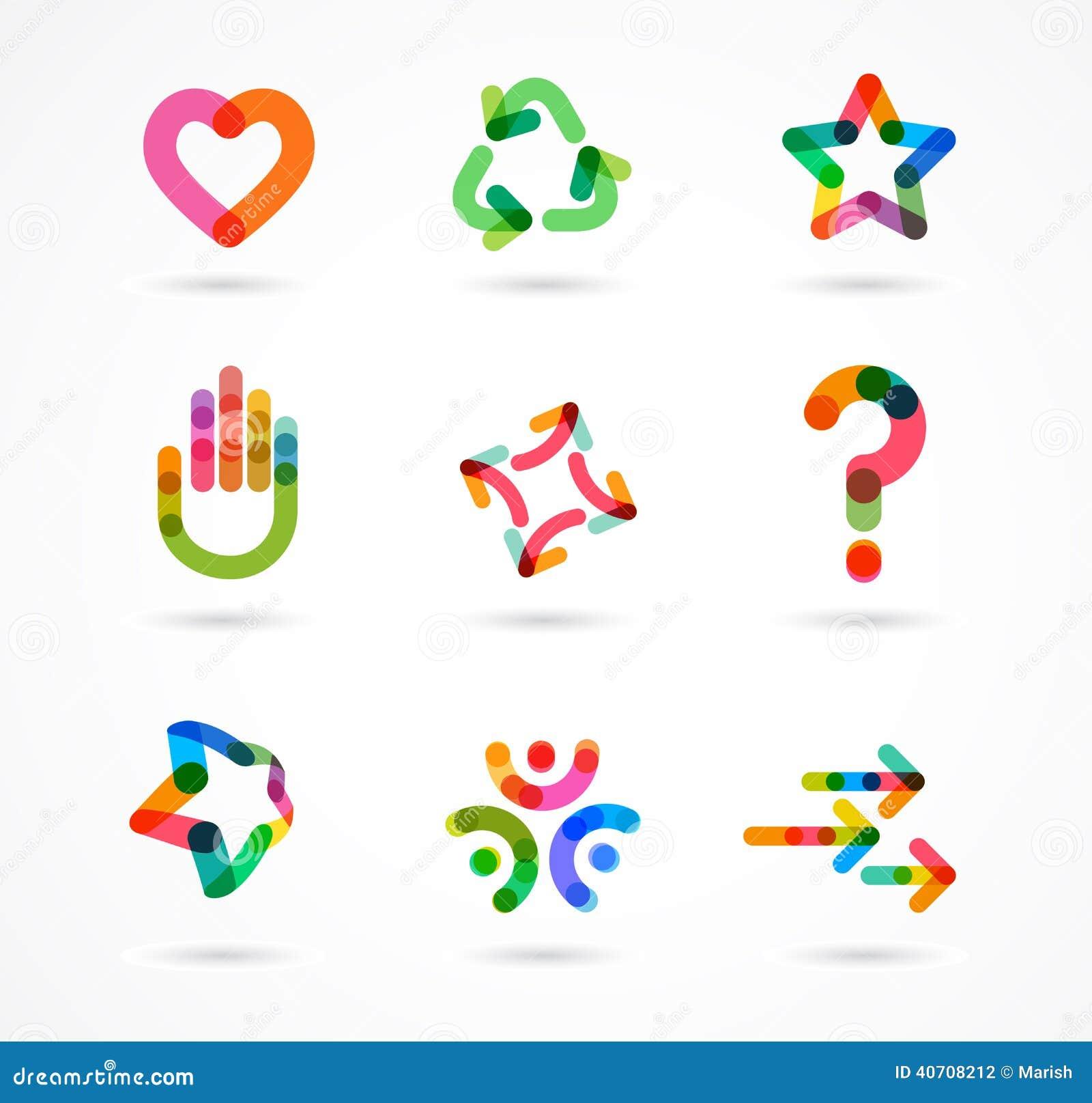 Coleção de ícones coloridos abstratos do negócio