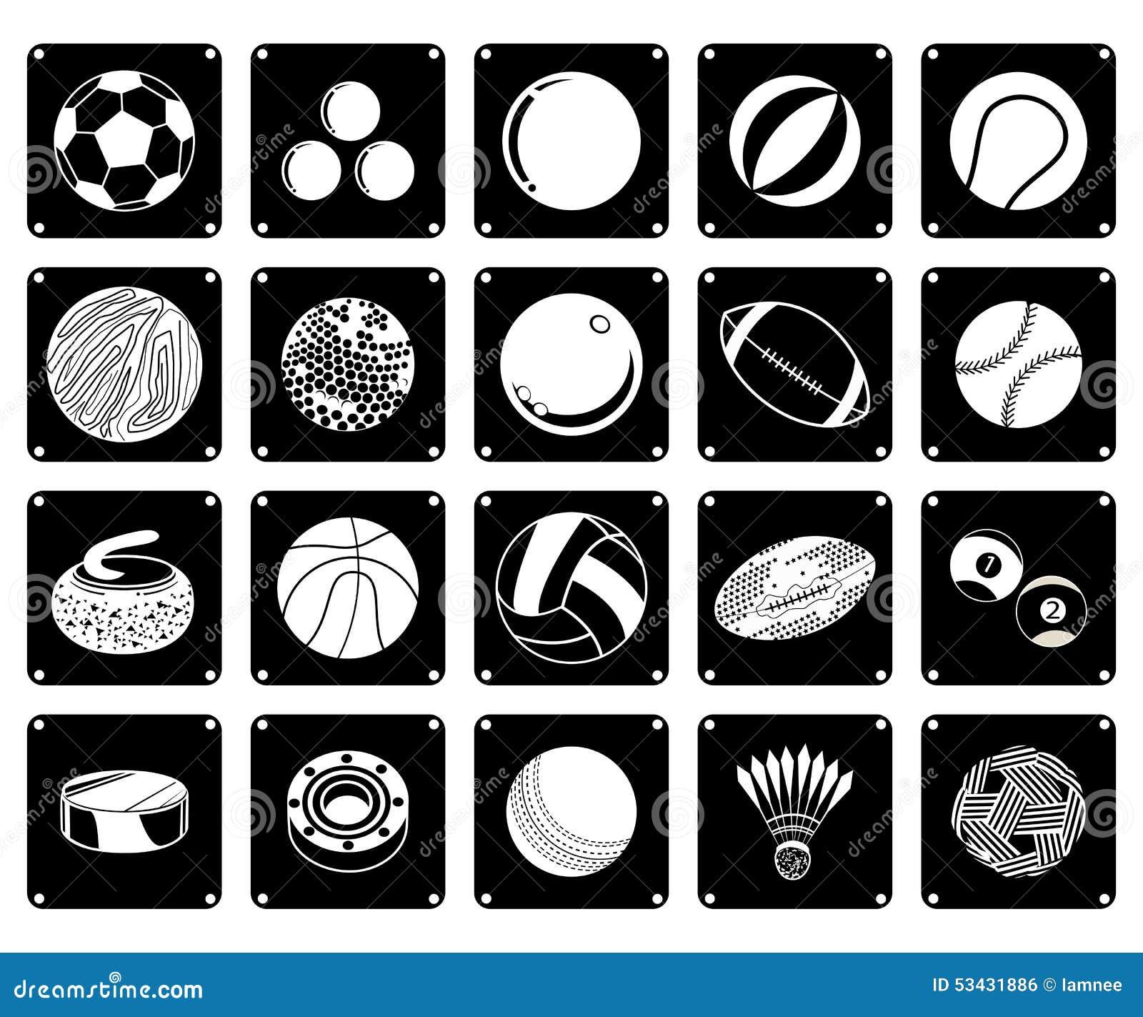 944580726 Grupo da ilustração do ícone 20 sortido de bolas do esporte e de artigos do  esporte em cores preto e branco