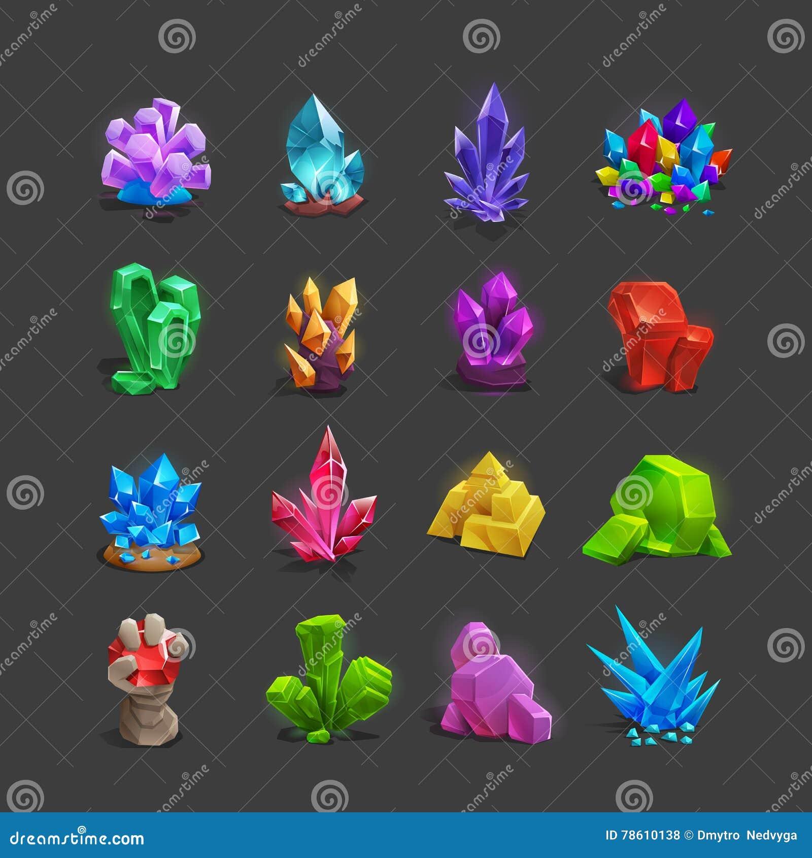 Coleção de ícones da decoração para jogos Grupo de cristais dos desenhos animados