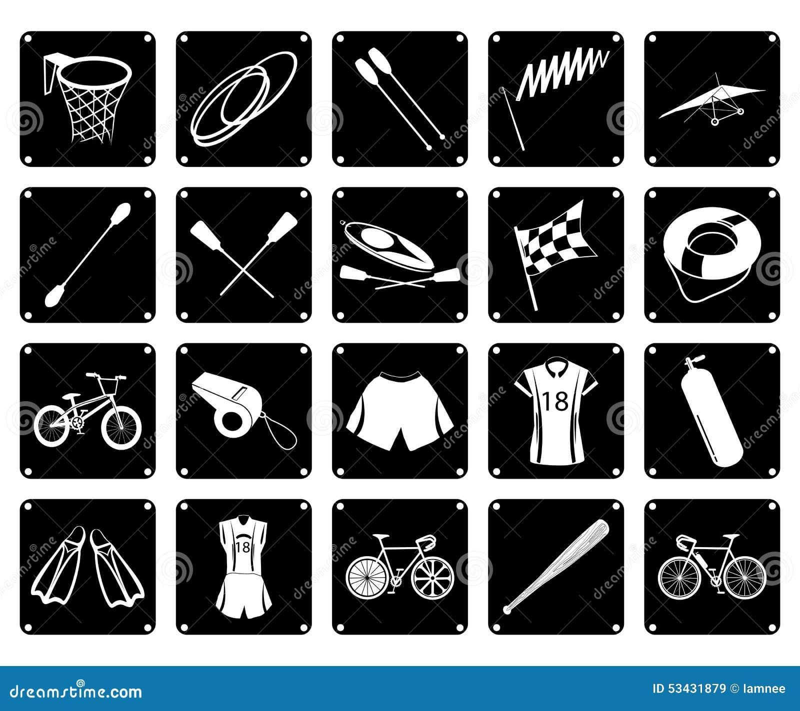 d7bfffe32 Grupo da ilustração do ícone 20 sortido de equipamentos de esporte e de  artigos do esporte em cores preto e branco
