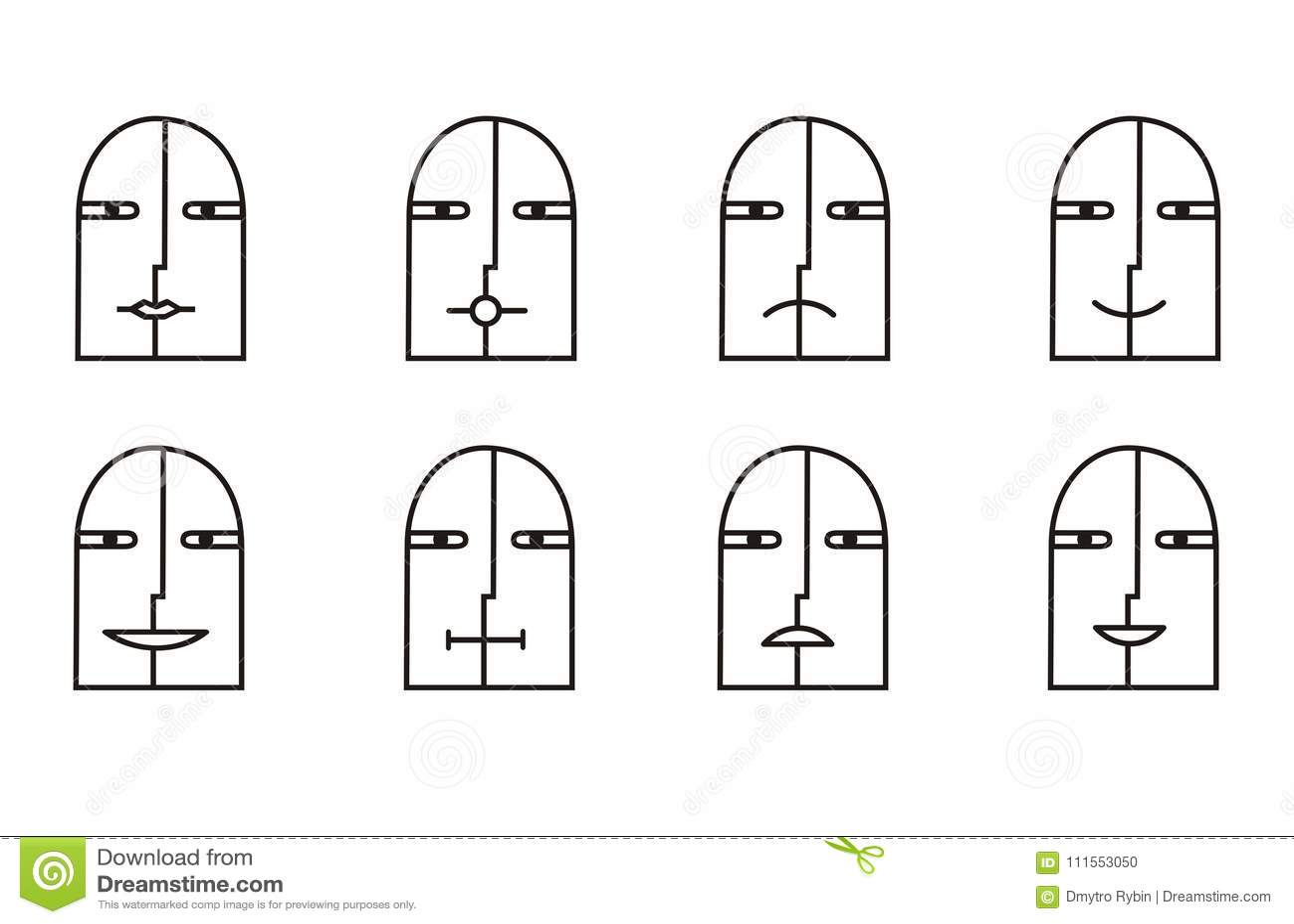 Coleção de 8 ícones do smiley em preto e branco pictogram