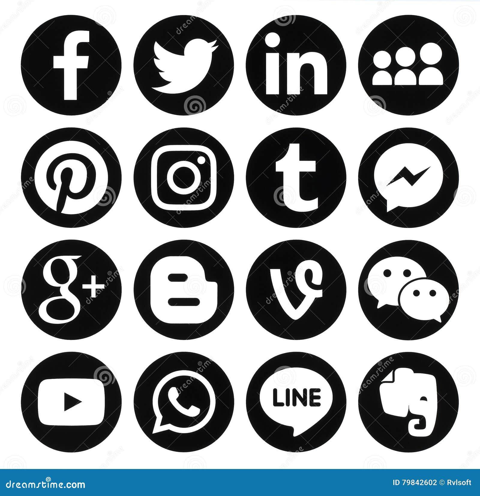 Coleção de ícones sociais redondos pretos populares dos meios