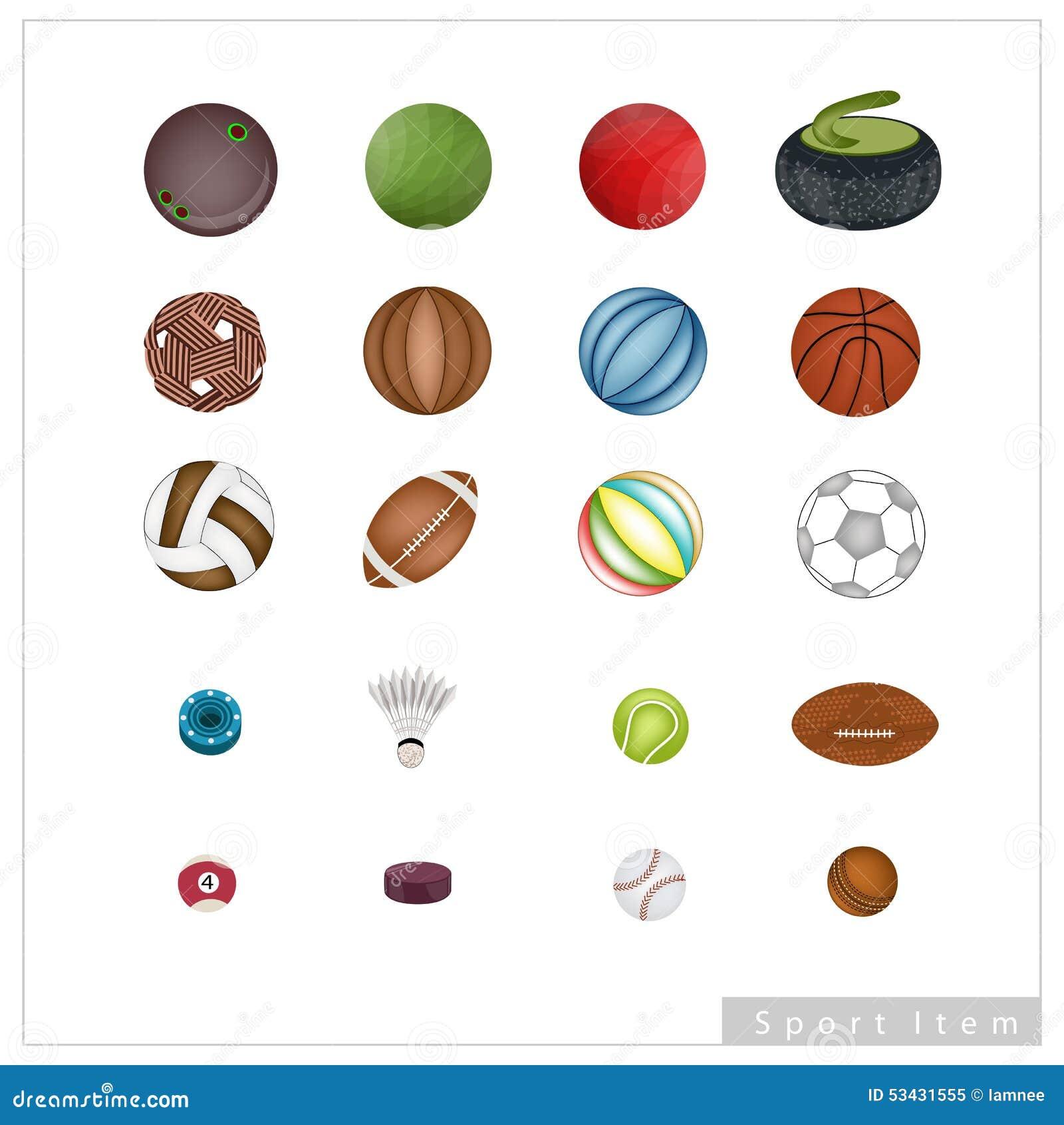 dbb548624 Coleção De Artigos Do Esporte No Fundo Branco Ilustração do Vetor ...