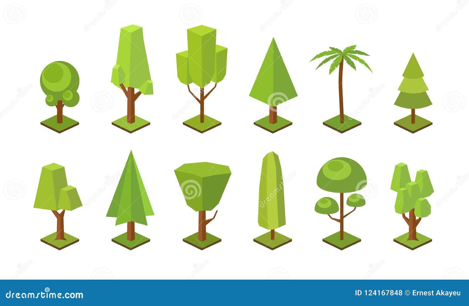 Coleção de baixas árvores polis dos vários tipos isolados no fundo branco Pacote de plantas poligonais verdes da floresta jogo