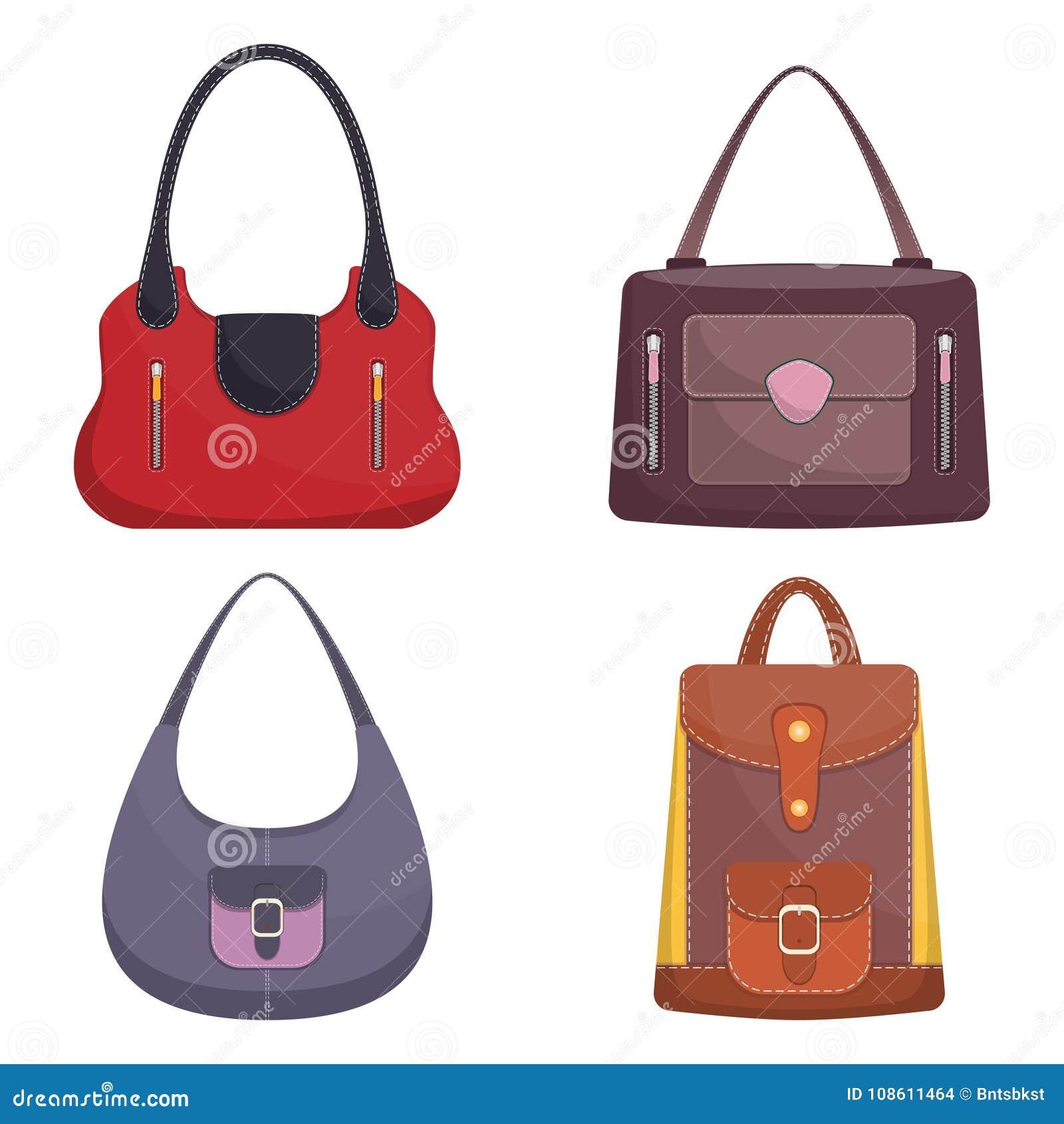 40e09d43f7 Coleção de bolsas de couro coloridas à moda com costura branca Saco da mulher  Bolsas das senhoras isoladas no fundo branco Acessórios de forma Ilustração  do ...