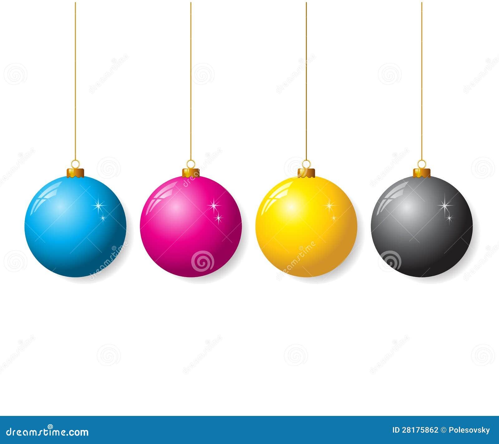 Coleção de CMYK de bolas do Natal