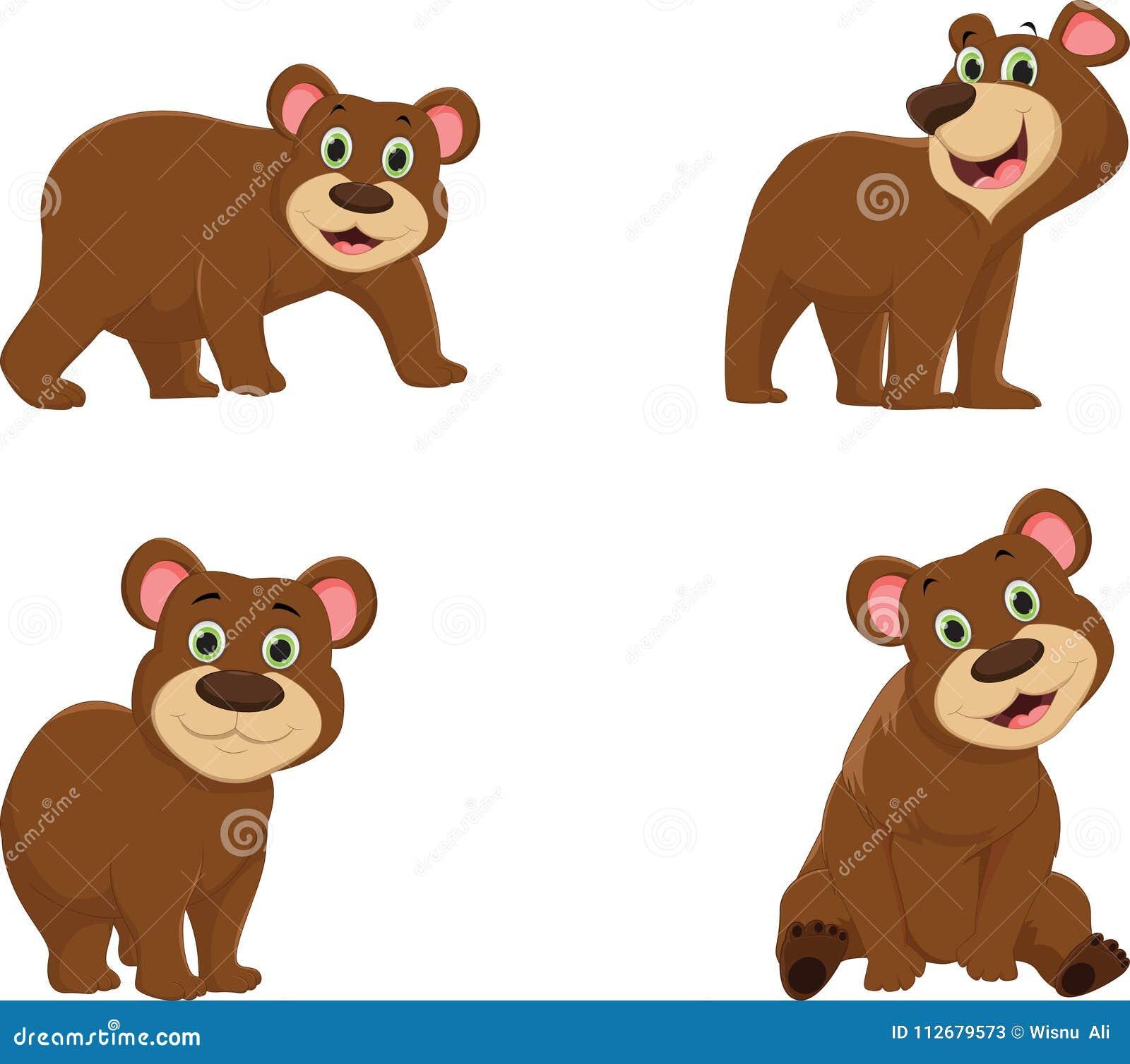 coleção de desenhos animados bonitos do urso marrom ilustração do