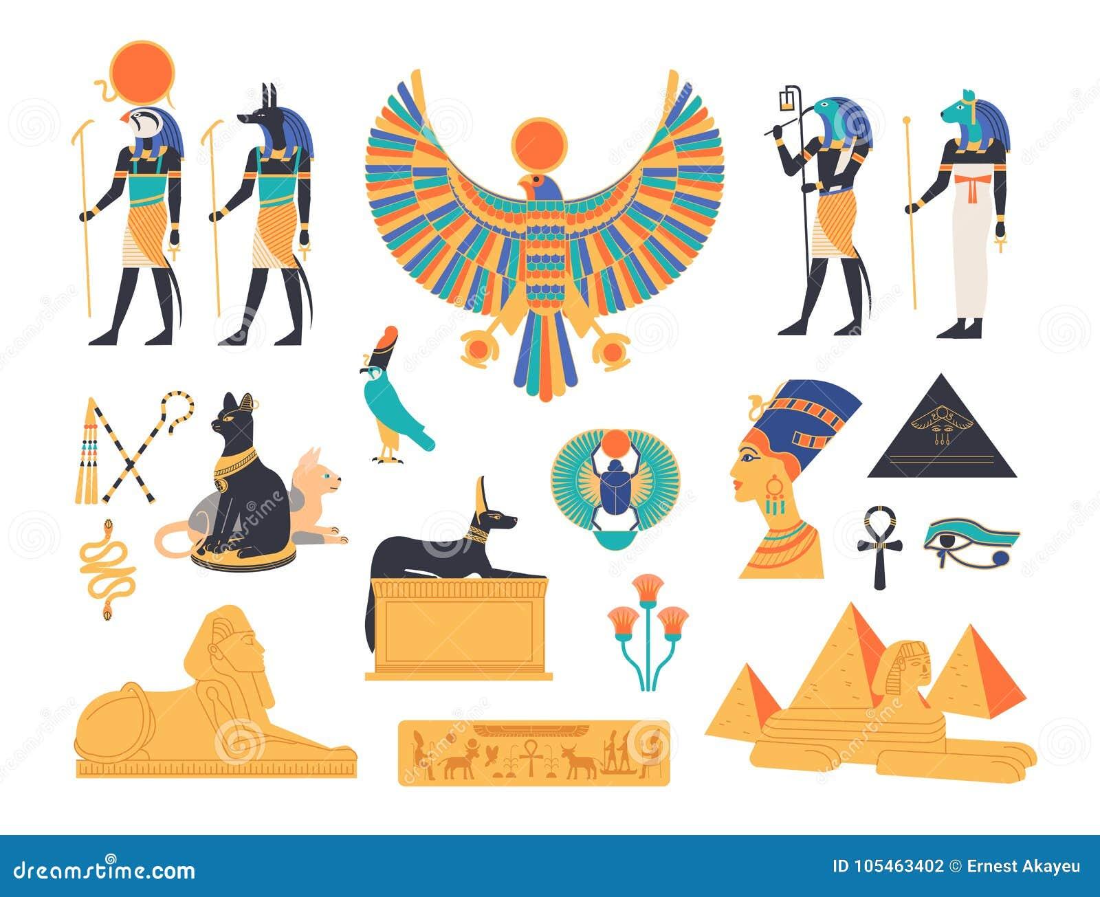 Coleção de Egito antigo - deuses, deidades e criaturas mitológicas da mitologia e da religião egípcias, animais sagrados