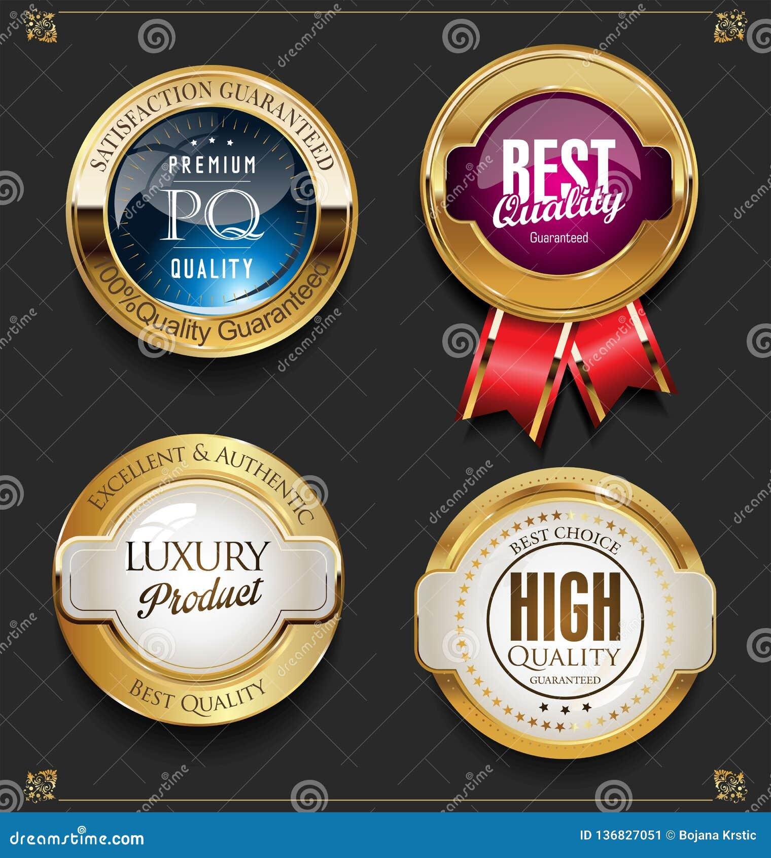 Coleção de etiquetas superiores douradas elegantes da qualidade