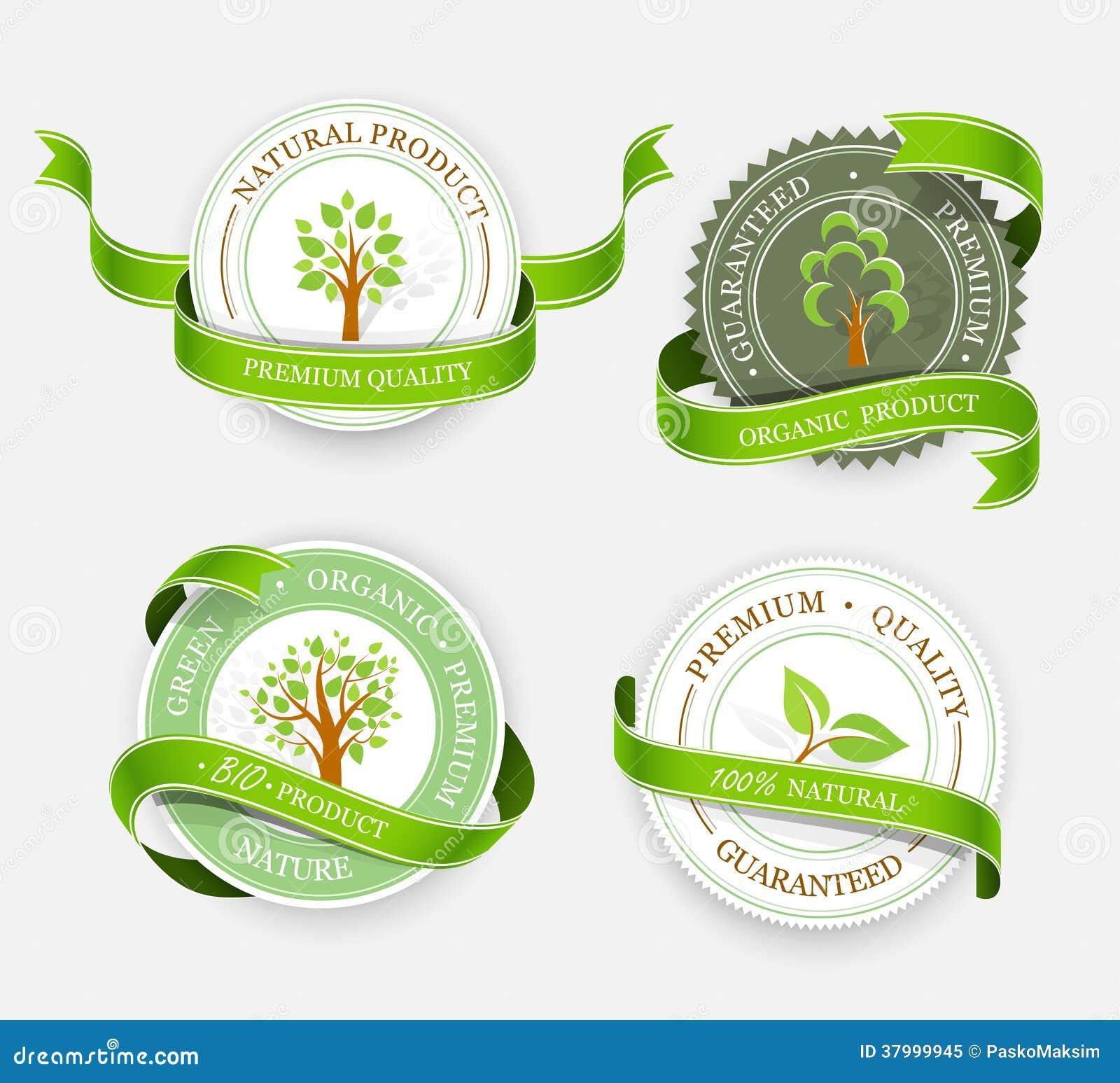 Coleção de etiquetas verdes