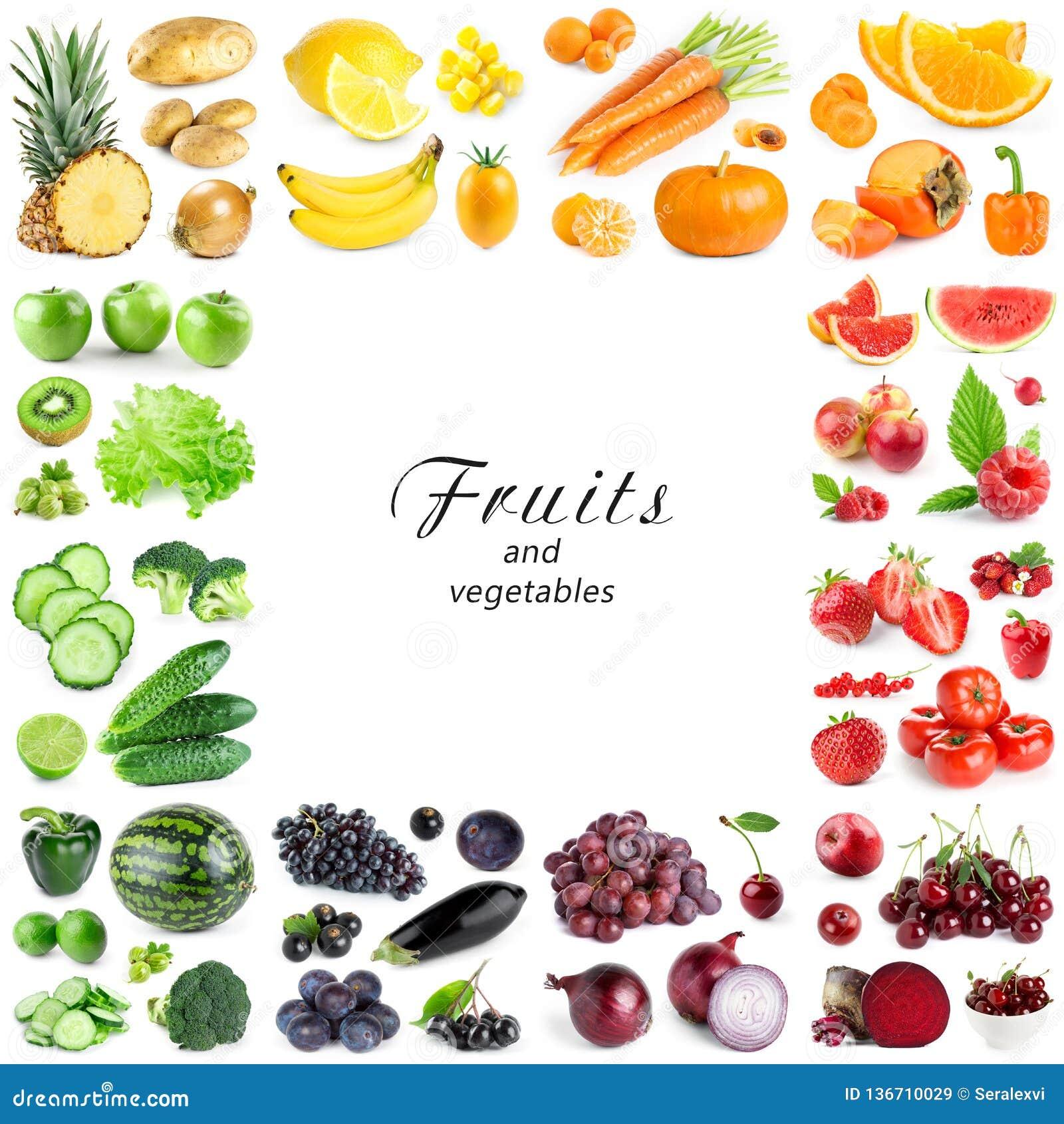 Coleção de frutas e legumes da cor no fundo branco Quadro