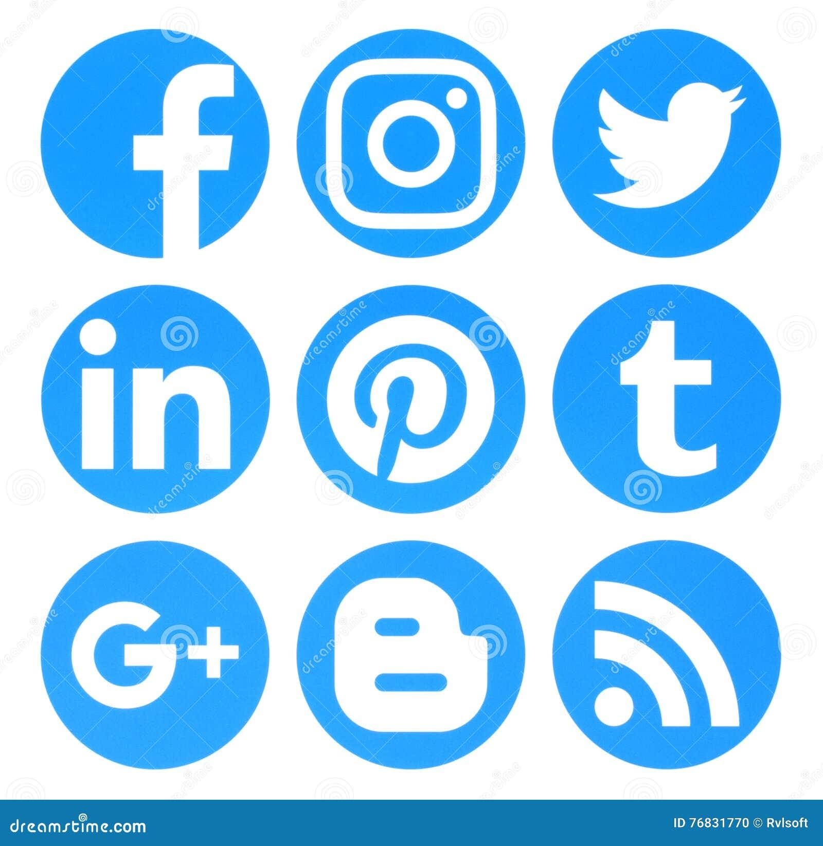 A coleção de logotipos sociais azuis dos meios do círculo popular imprimiu sobre