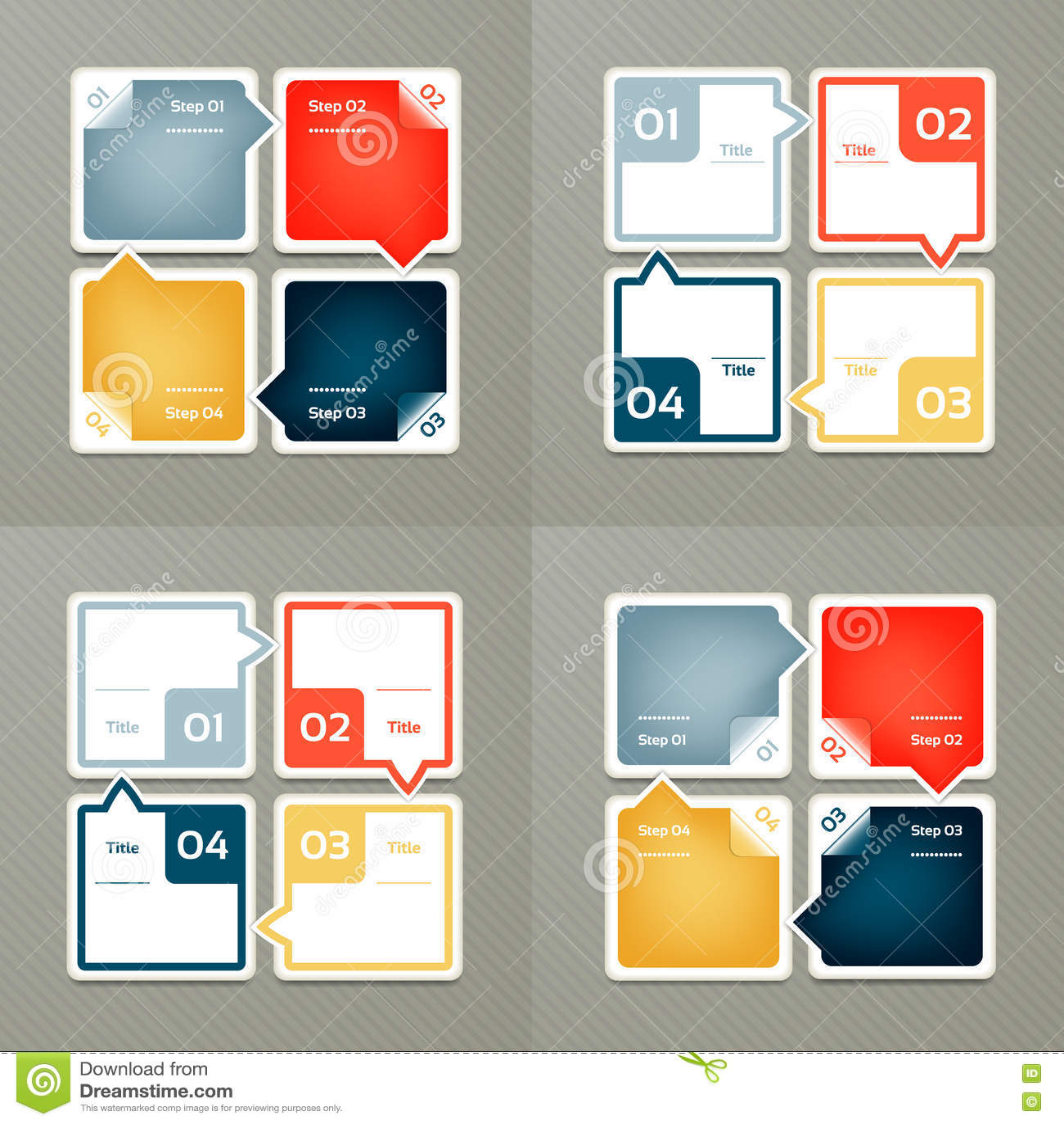 Coleção de moldes de Infographic para o negócio Quatro etapas que dão um ciclo diagramas Ilustração do vetor