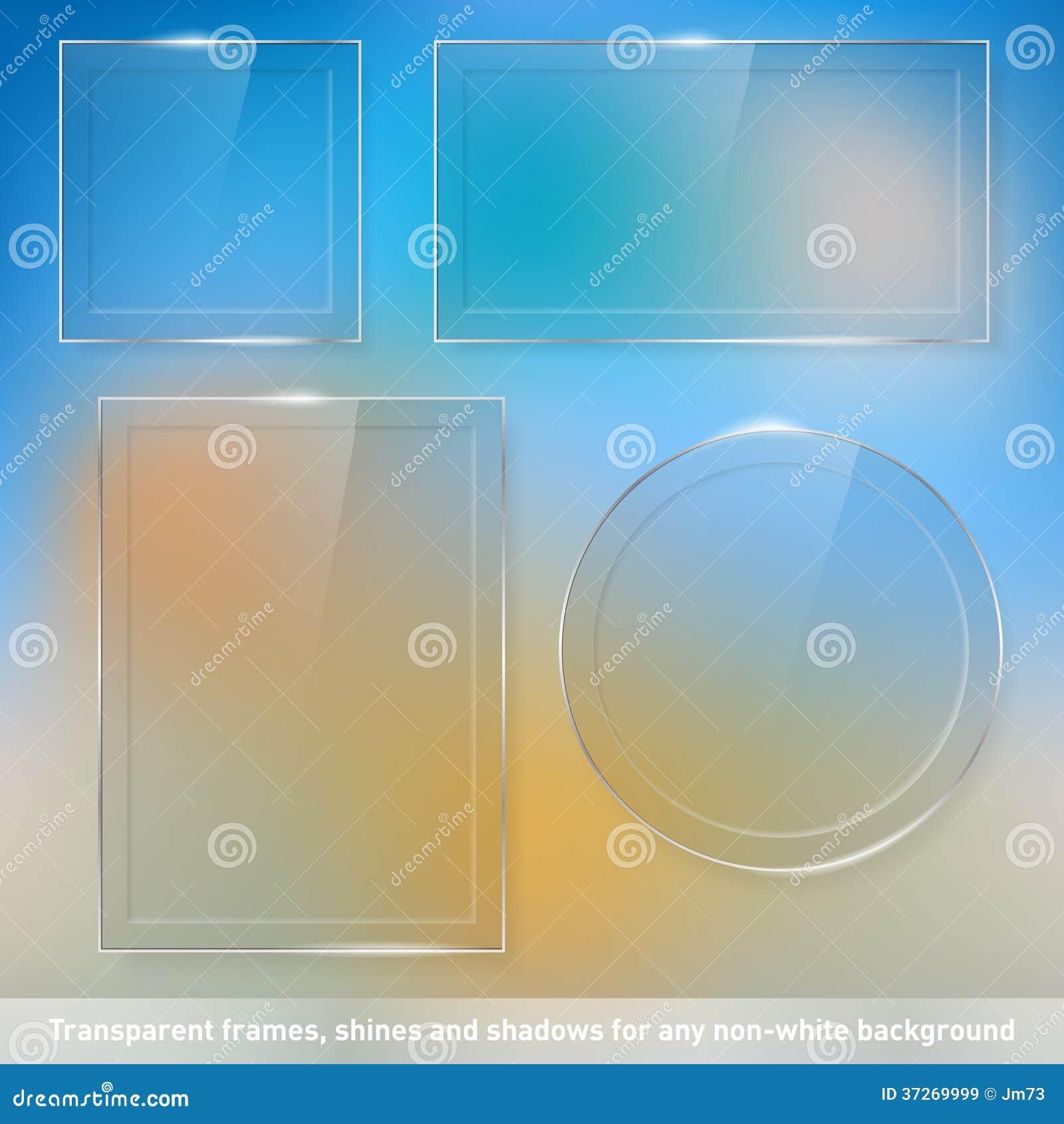 Coleção de quadros de vidro transparentes