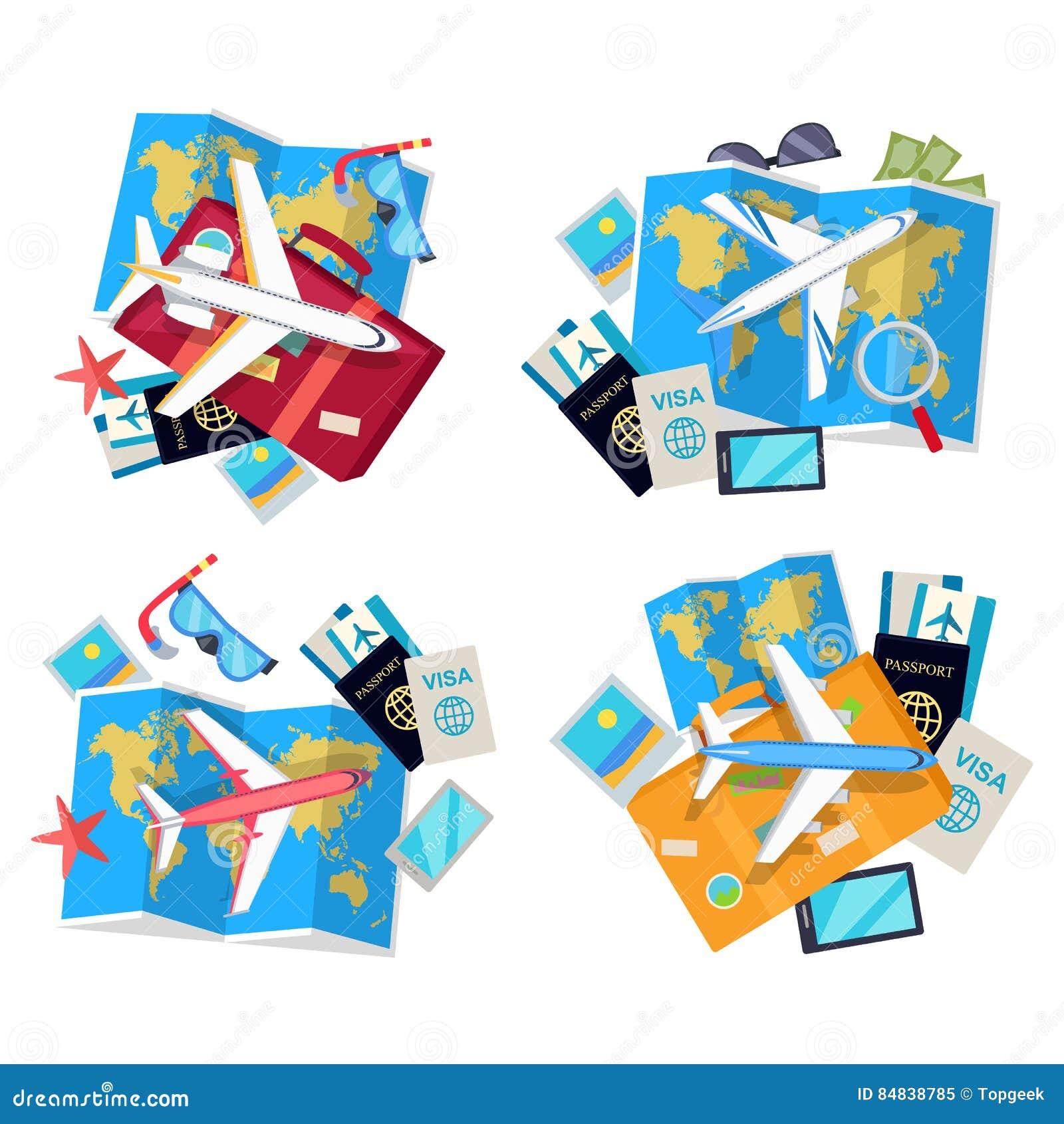 Coleção de quatro grupos do curso Vetor para o turista