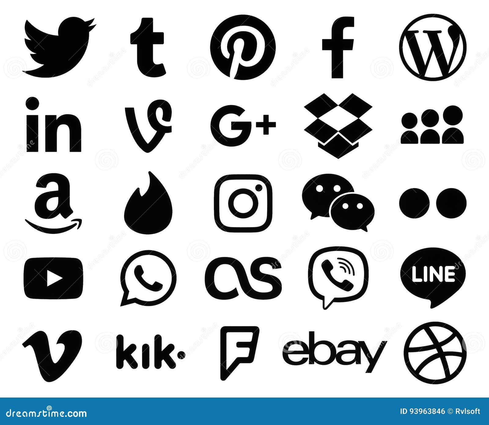 Coleção de sinais pretos populares do logotipo de ícones sociais dos meios