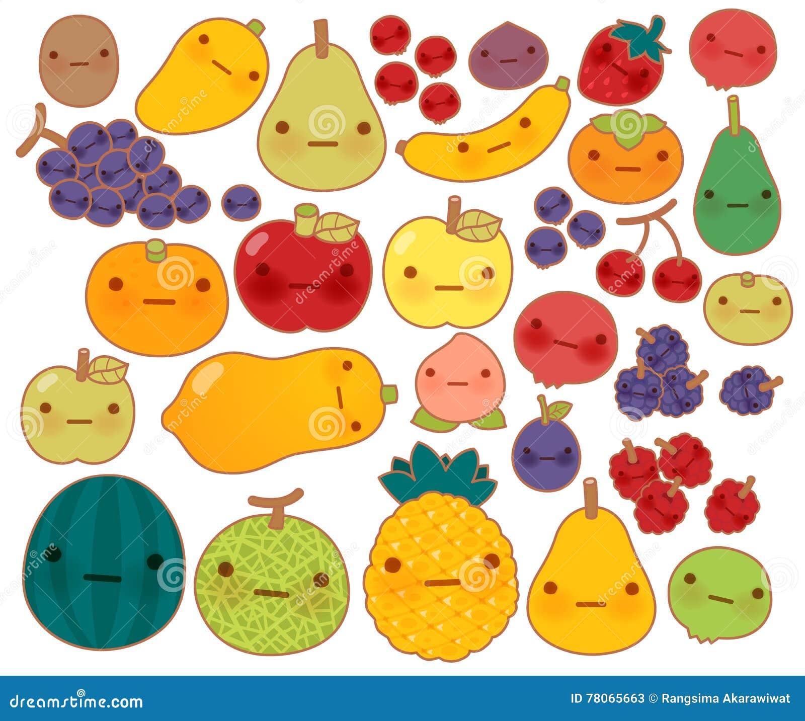 Coleção Do ícone Bonito Da Garatuja Das Frutas E Legumes Do
